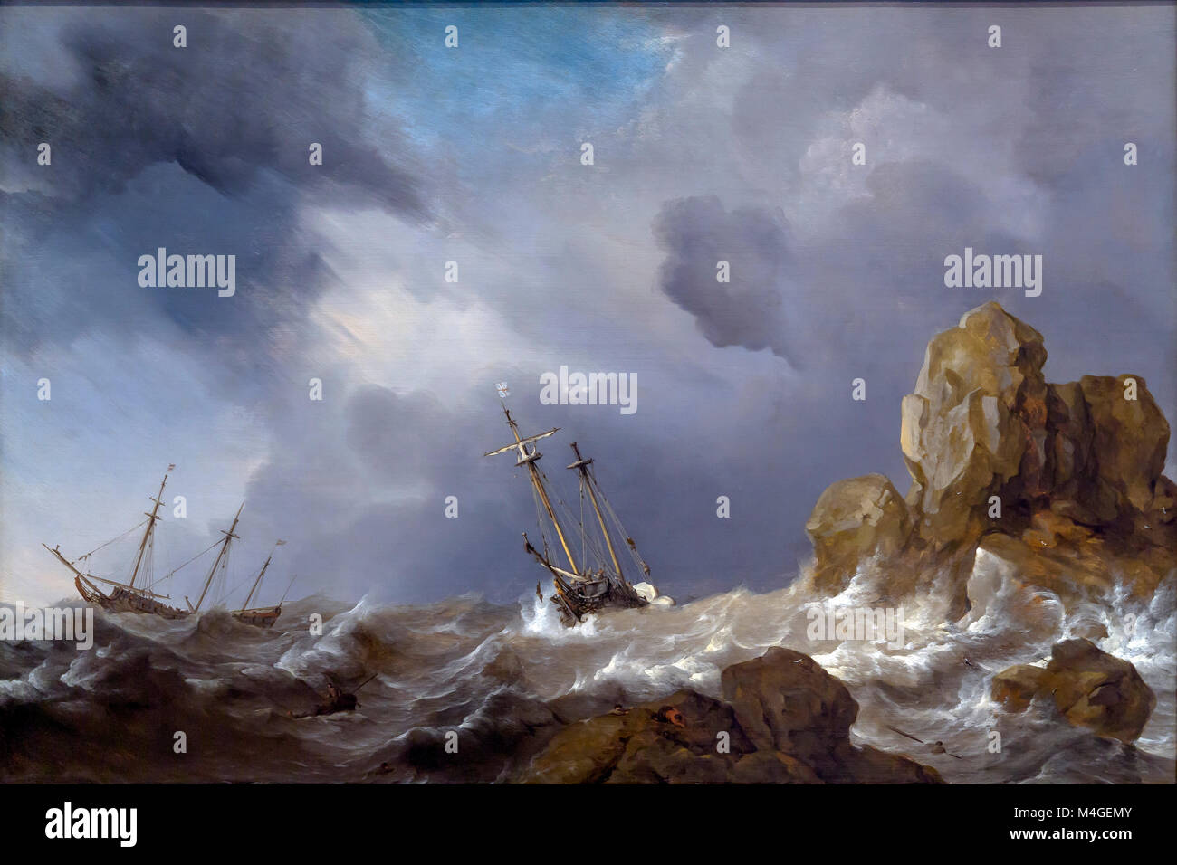 Ships in a Gale, Willem van de Velde the Younger, 1660, National Gallery of Art, Washington DC, USA, North America - Stock Image