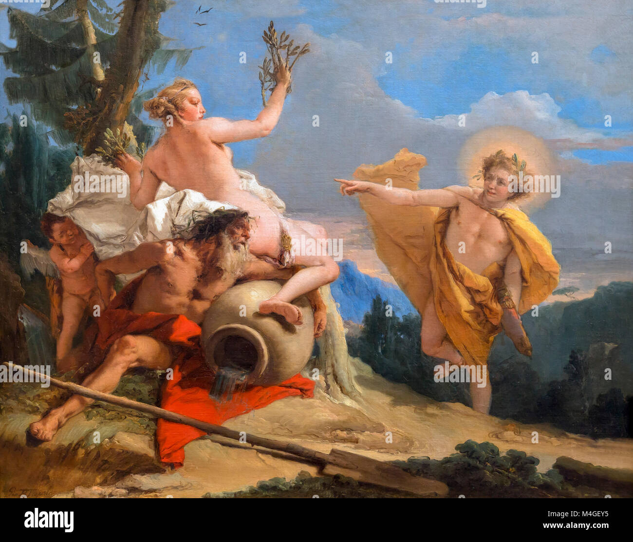 Apollo Pursuing Daphne, Giovanni Battista Tiepolo, circa 1755, National Gallery of Art, Washington DC, USA, North - Stock Image