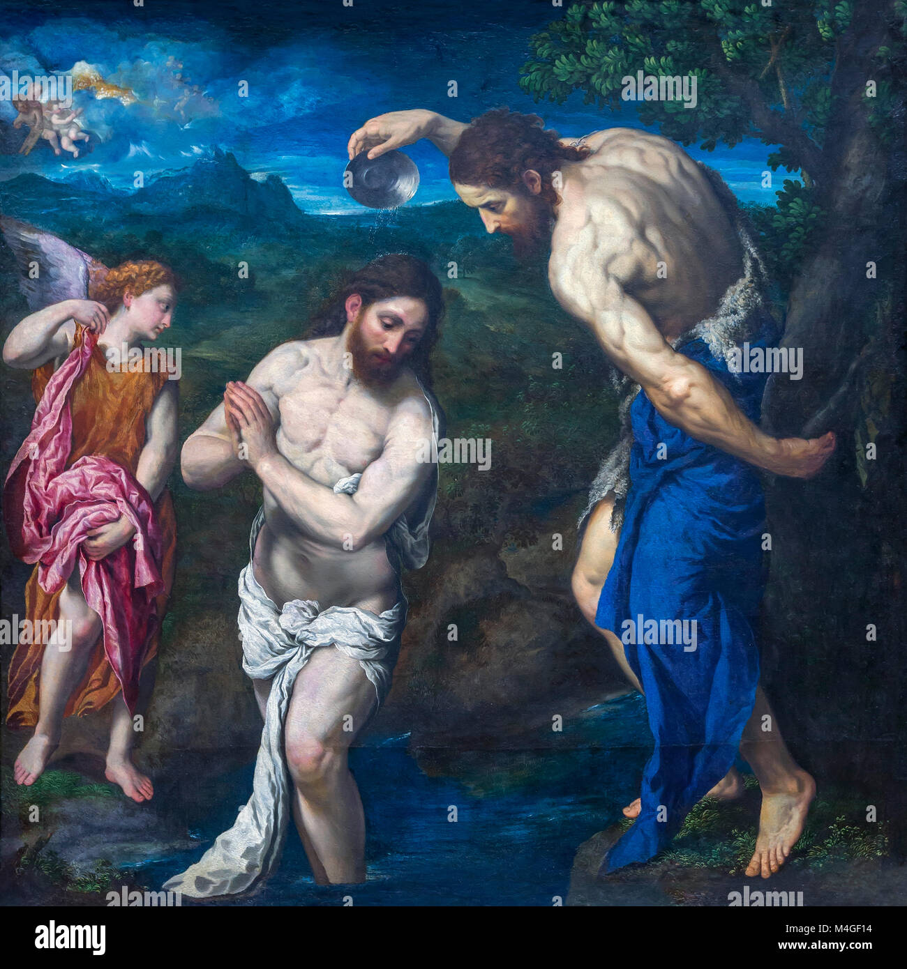 The Baptism of Christ, Paris Bordone, circa 1535-1540, National Gallery of Art, Washington DC, USA, North America - Stock Image