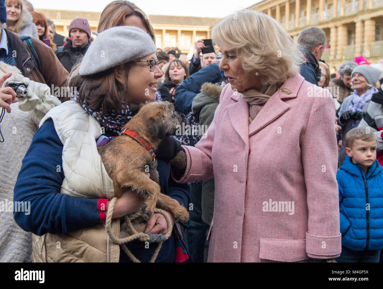 "The Duchess of Cornwall meets Jackie Harrison and her Border Terrier ""Spike"" after she visit to the Piece Stock Photo"