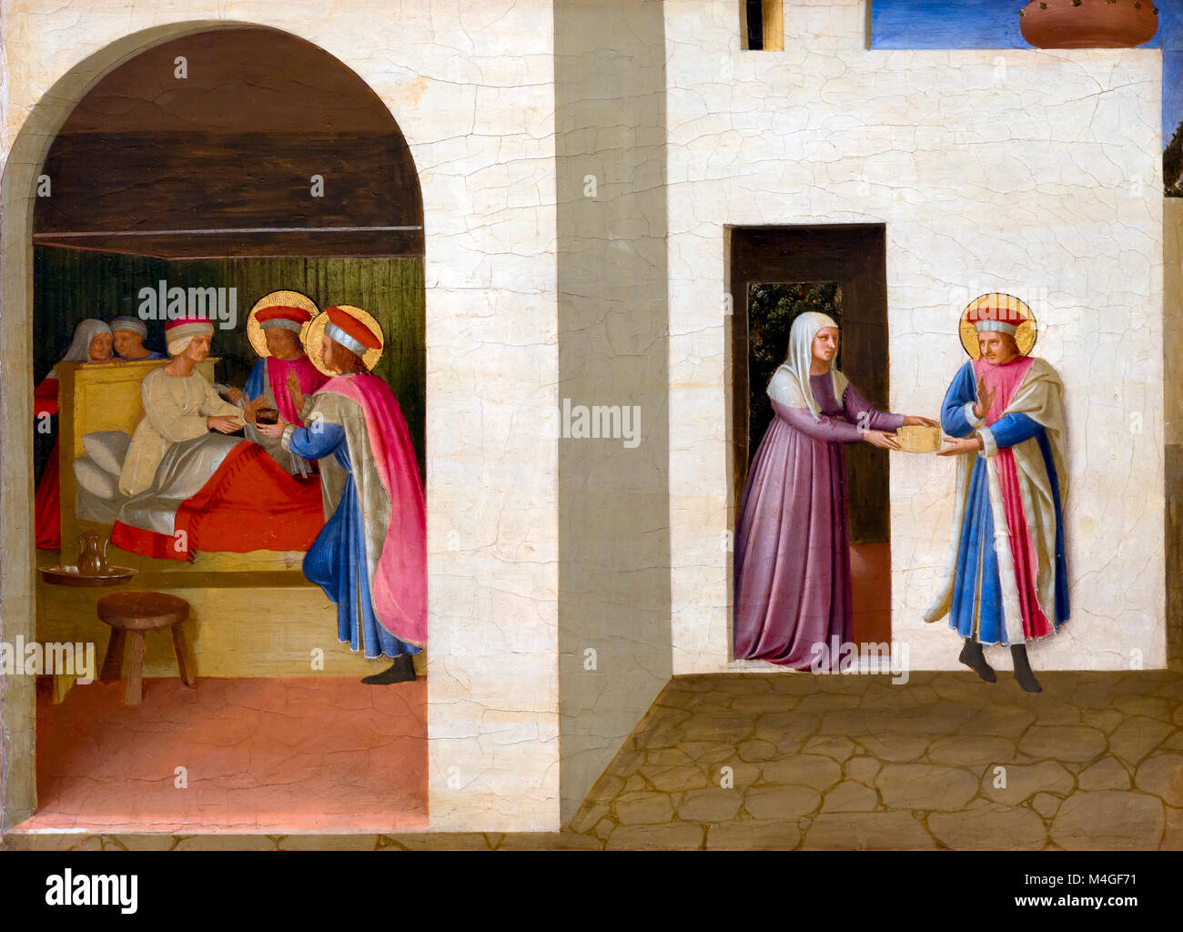 The Healing of Palladia by Saint Cosmos and Saint Damian, Fra Angelico, circa 1440, National Gallery of Art, Washington - Stock Image
