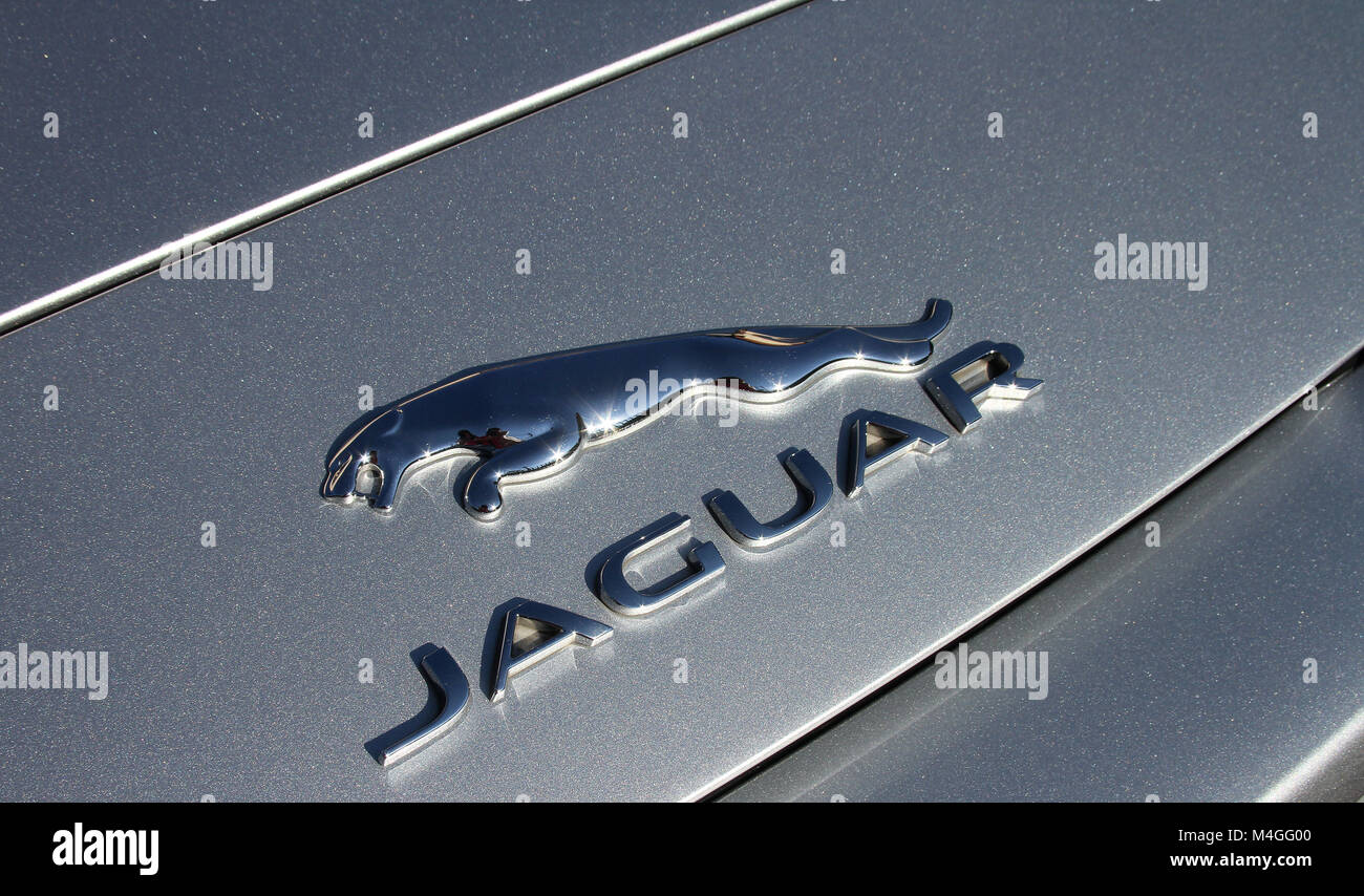 Jaguar F-Type Convertible Luxury Sports Car Emblem, South Africa. - Stock Image