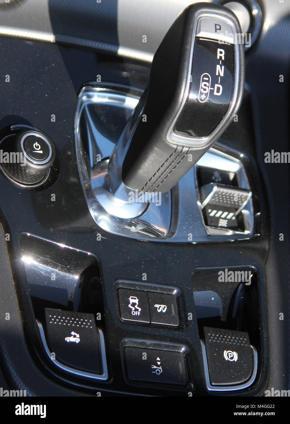 Jaguar F-Type Convertible Luxury Sports Car Gearshift, South Africa. - Stock Image