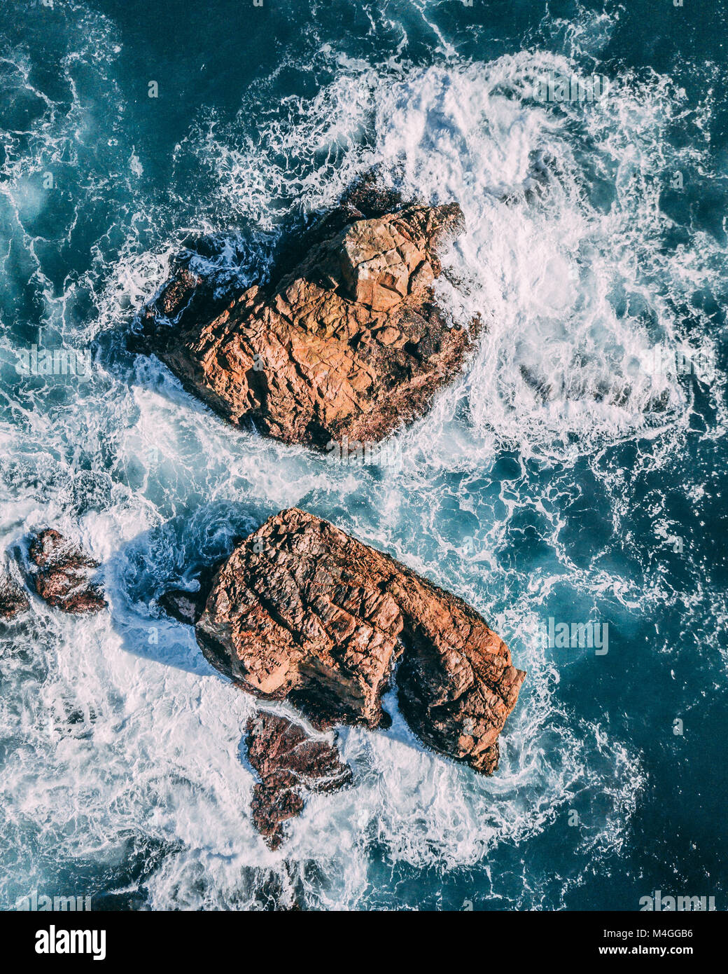 An aerial view of California Coastal Rocks - Stock Image
