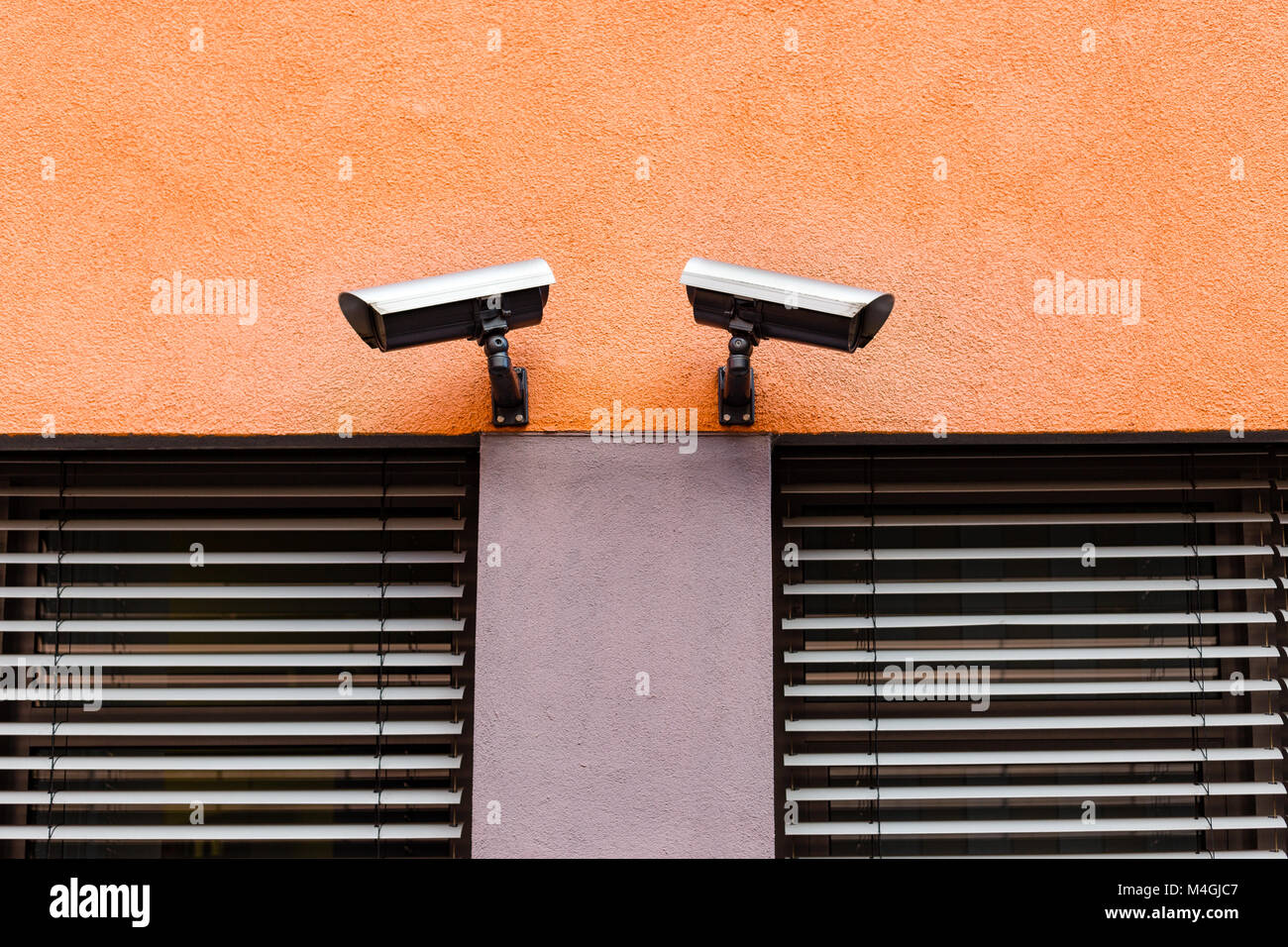 Surveilance cameras for observation on a facility wall, to protect and alarm, 2017. - Stock Image