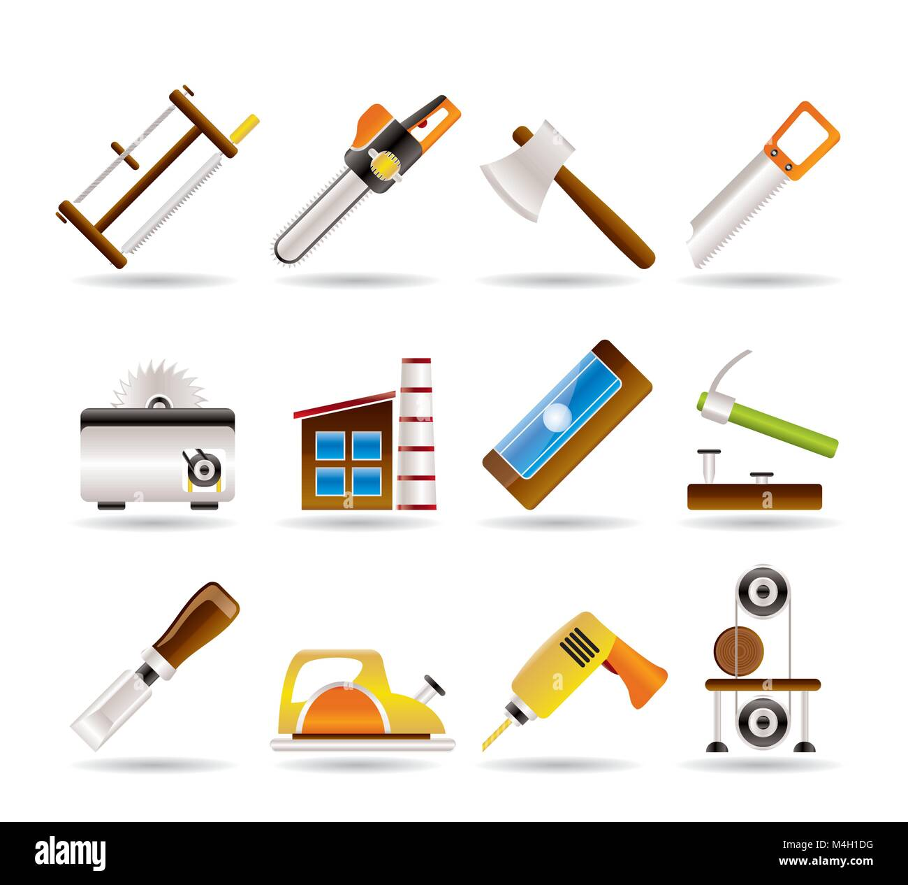 Woodworking Industry And Woodworking Tools Icons Vector Icon Set