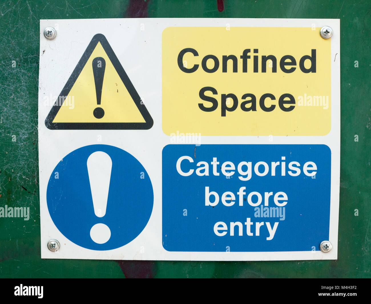 confined space categorise before entry sign board on box - Stock Image