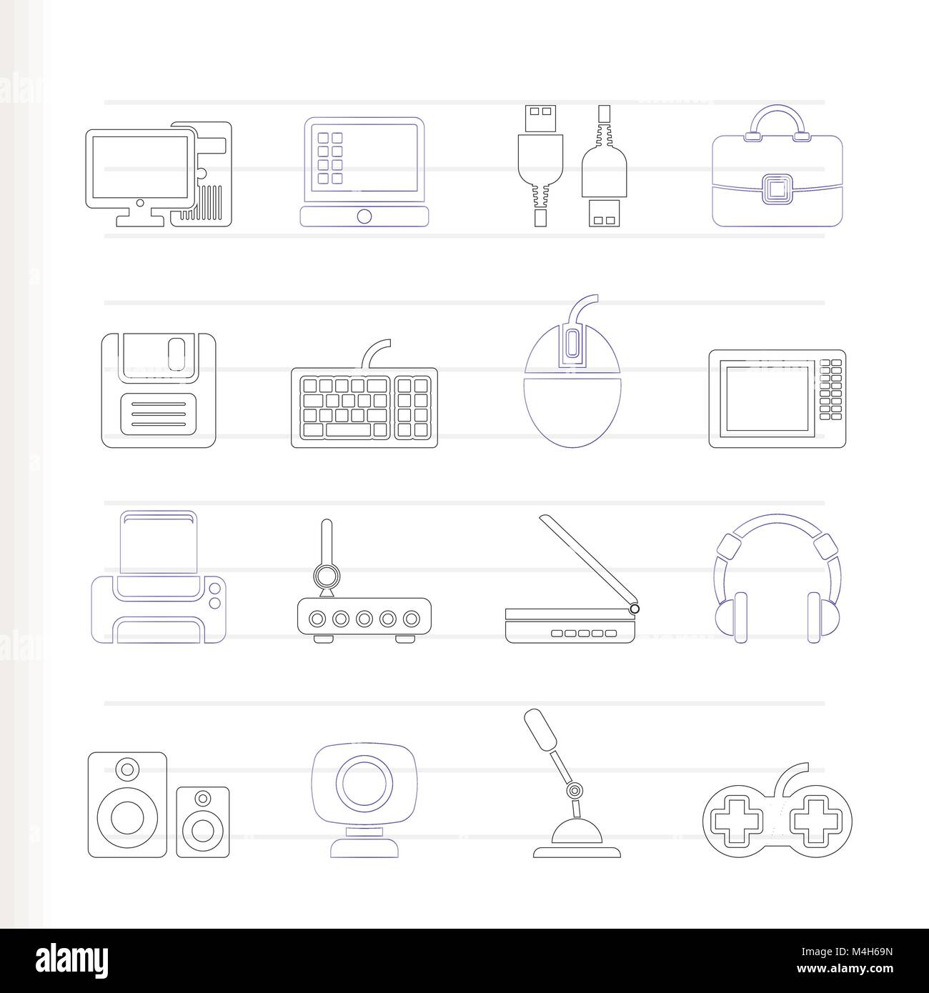 Computer equipment and periphery icons - vector icon set - Stock Image