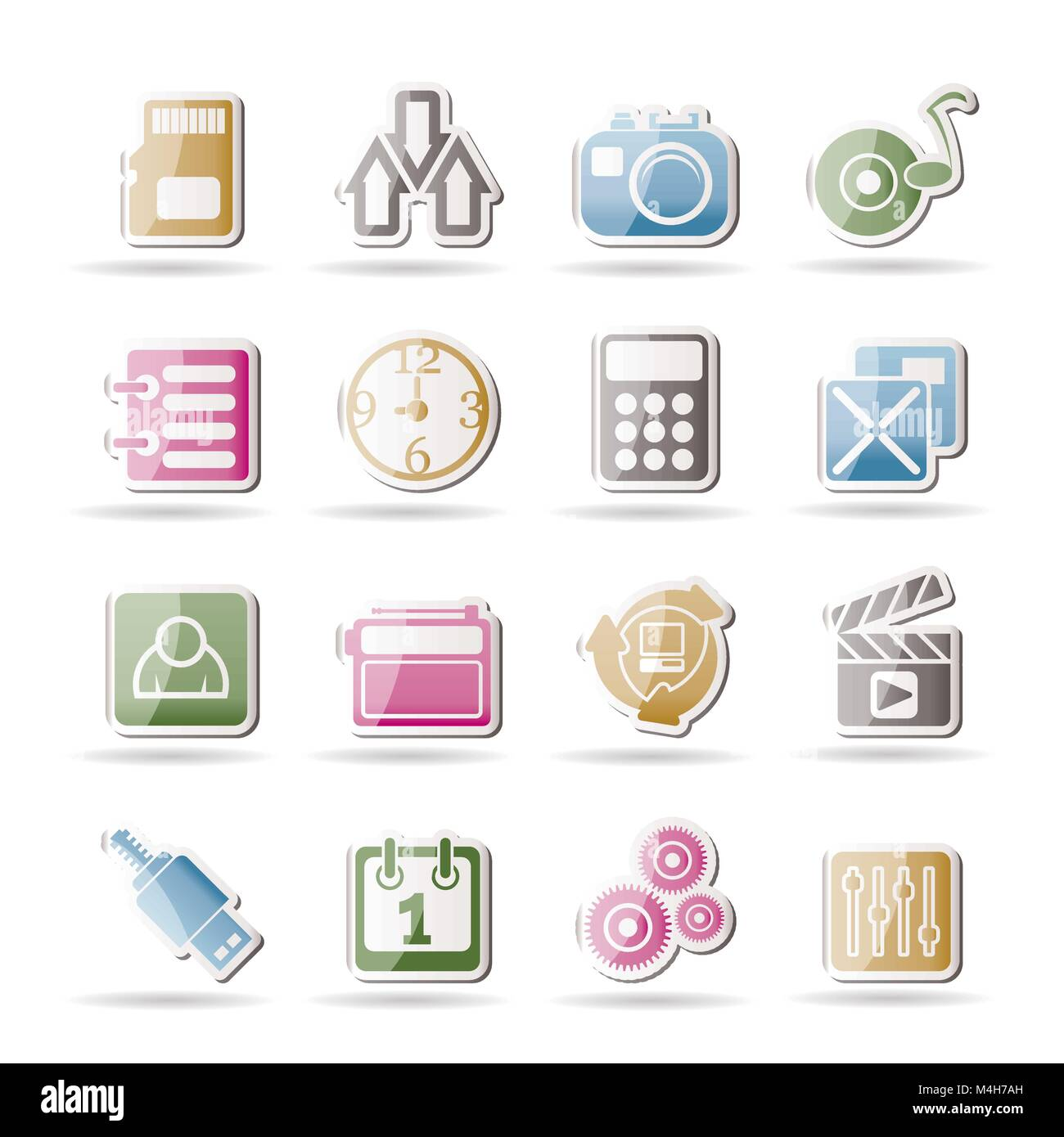 phone performance, internet and office icons - vector icon set - Stock Image