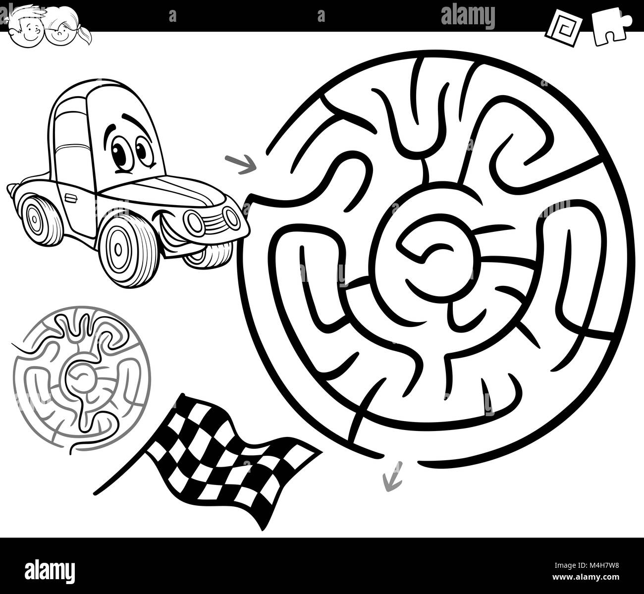 fun car black and white stock photos images alamy Citroen Classic Cars maze with car coloring page stock image
