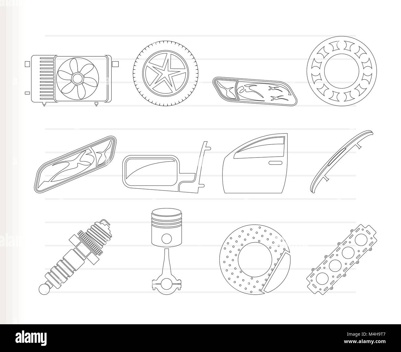 Realistic Car Parts and Services icons - Vector Icon Set 1 Stock Vector