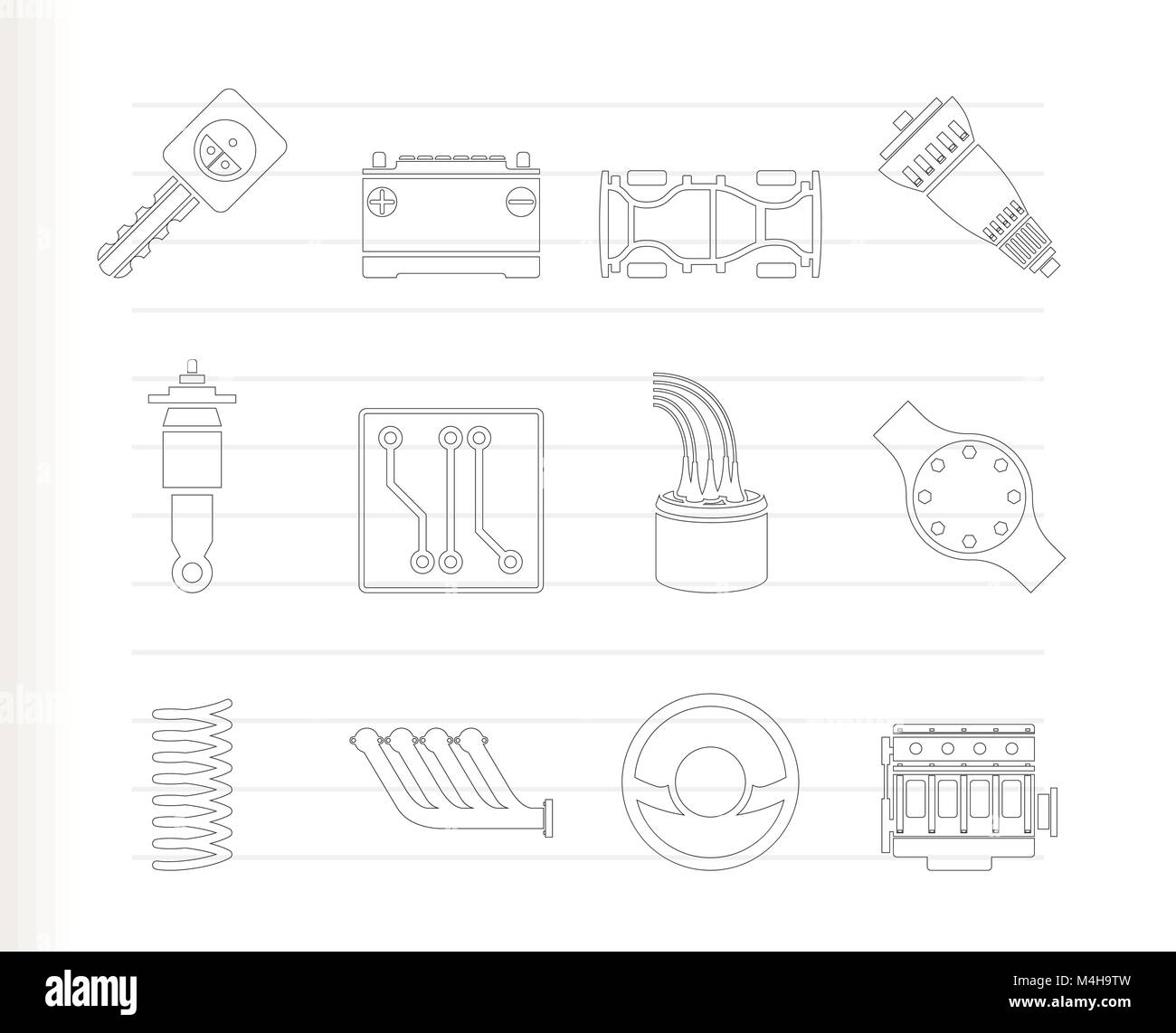 Realistic Car Parts and Services icons - Vector Icon Set 2 Stock Vector