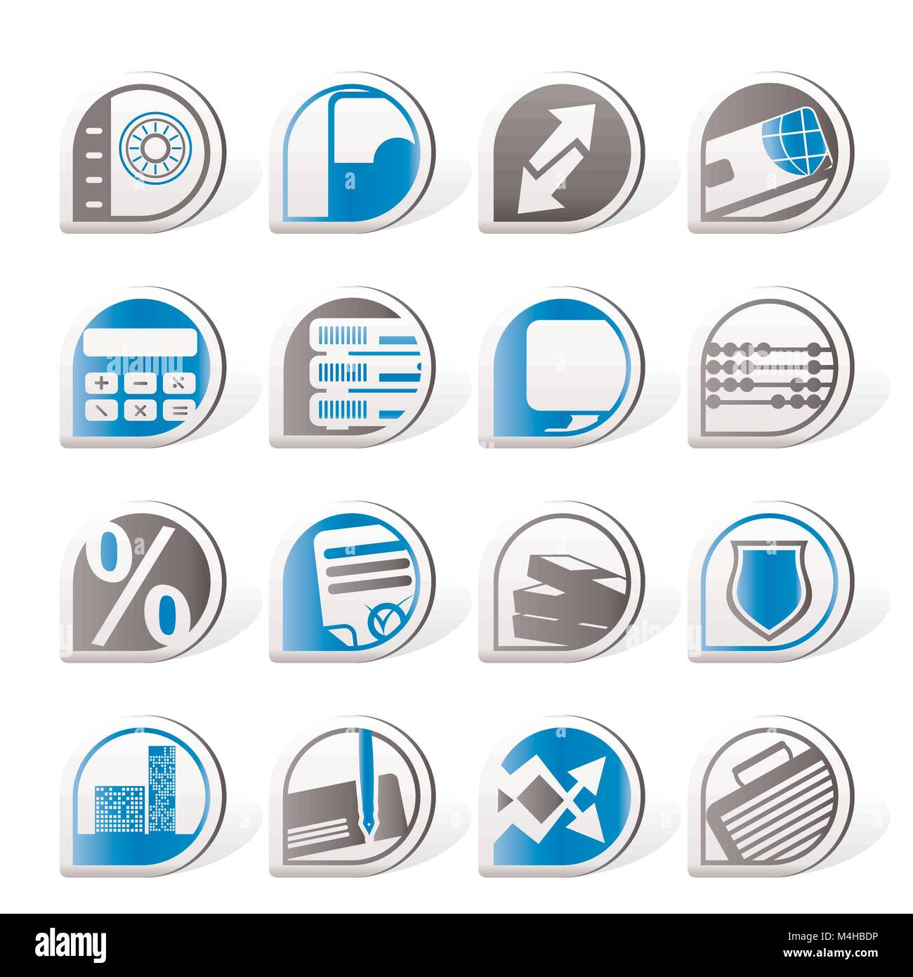 Simple bank, business, finance and office icons - vector