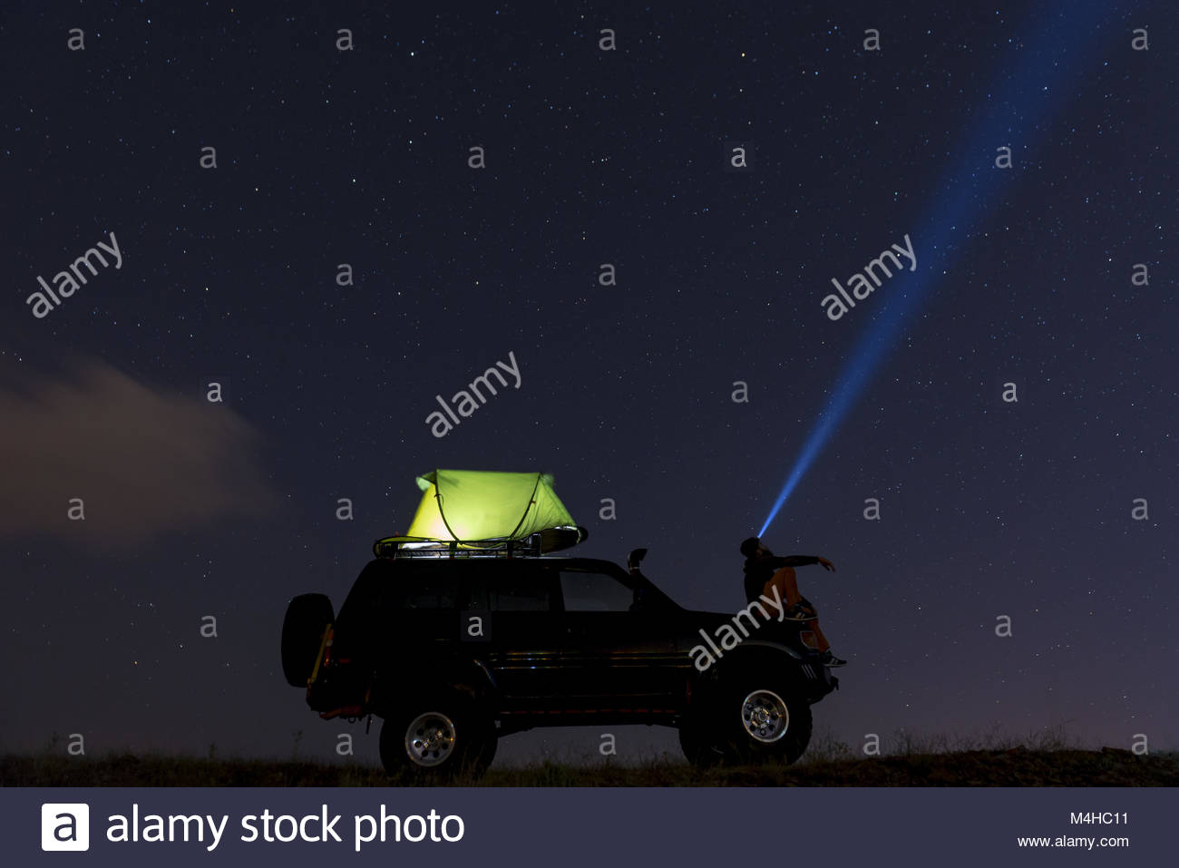 camping the night sky and watch the stars - Stock Image