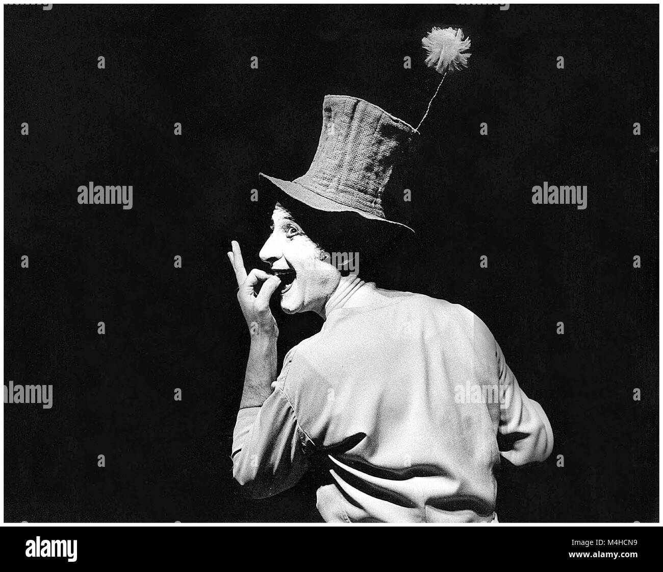 The pantomime Marcel Marceau during a performance in Regensburg. - Stock Image