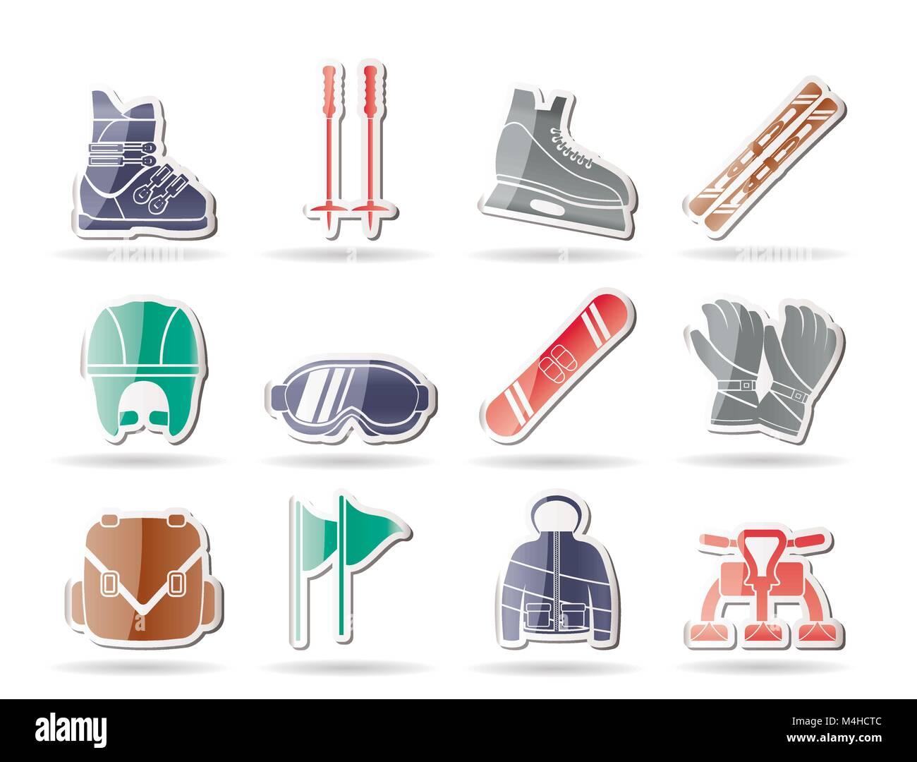 ski and snowboard equipment icons - vector icon set - Stock Image