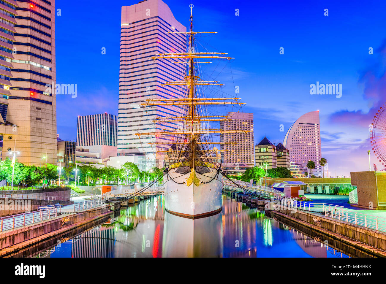Yokohama, Japan cityscape and harbor at dusk. - Stock Image