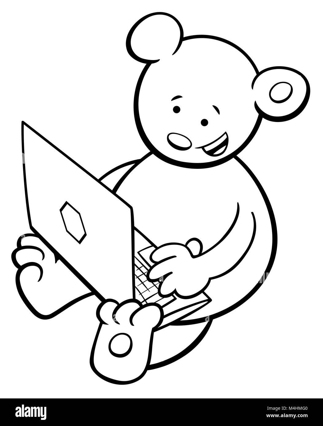bear with notebook coloring book Stock Photo: 174951616 - Alamy