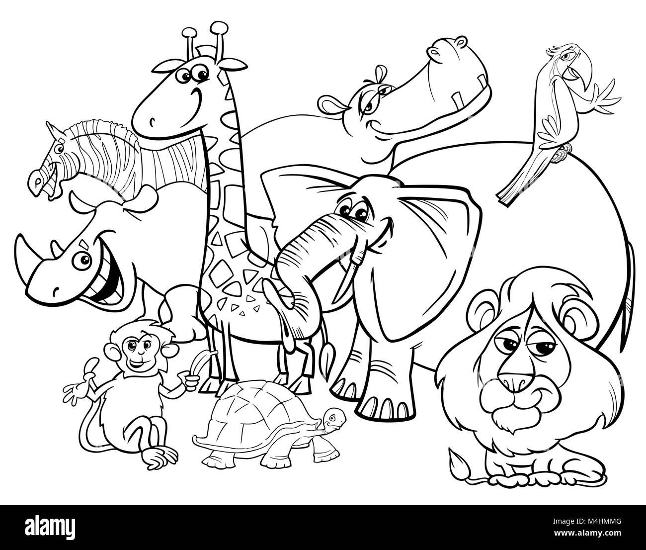 cartoon safari animals coloring page Stock Photo ...