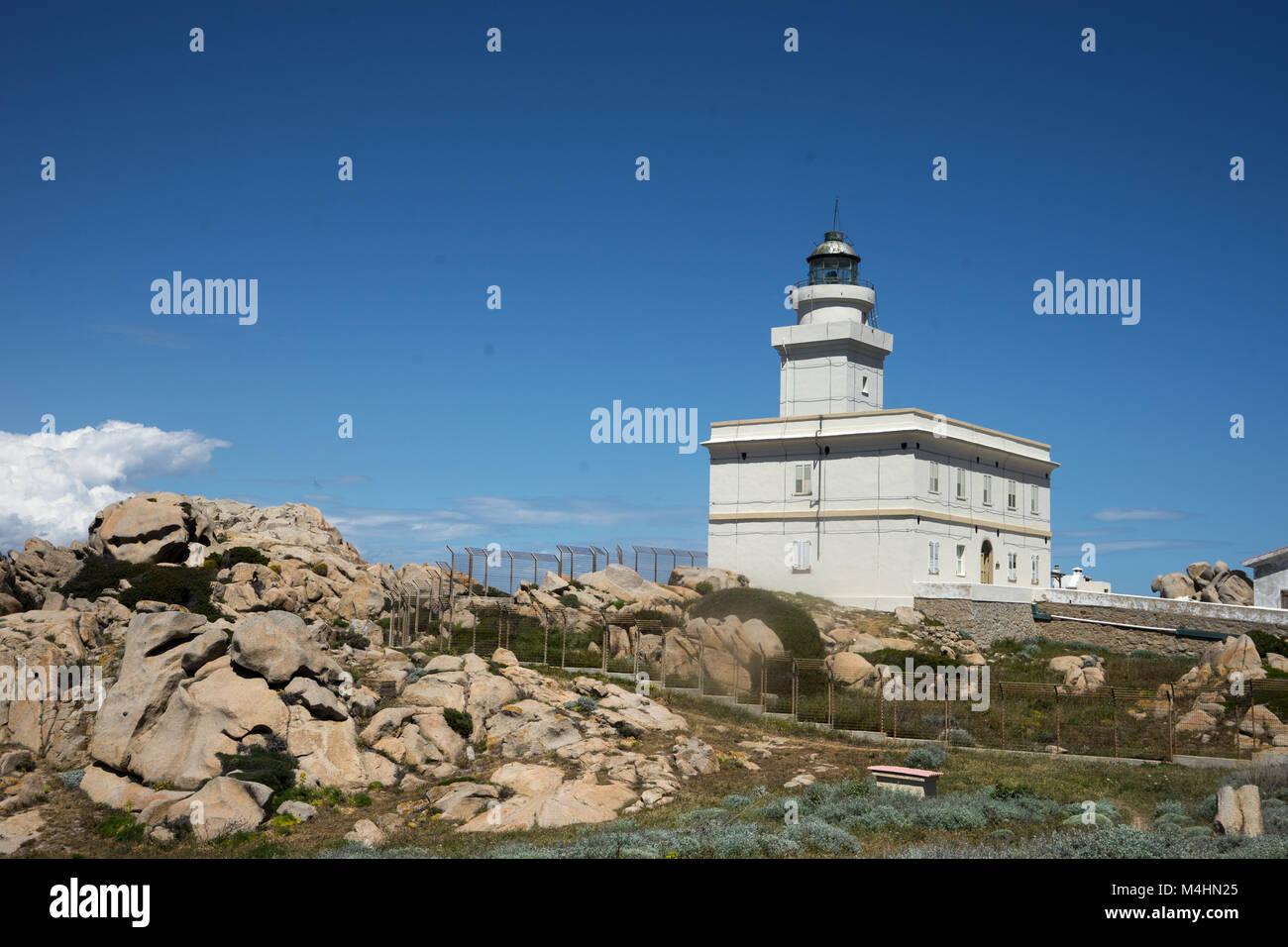 Lighttower at Capo Testa Stock Photo