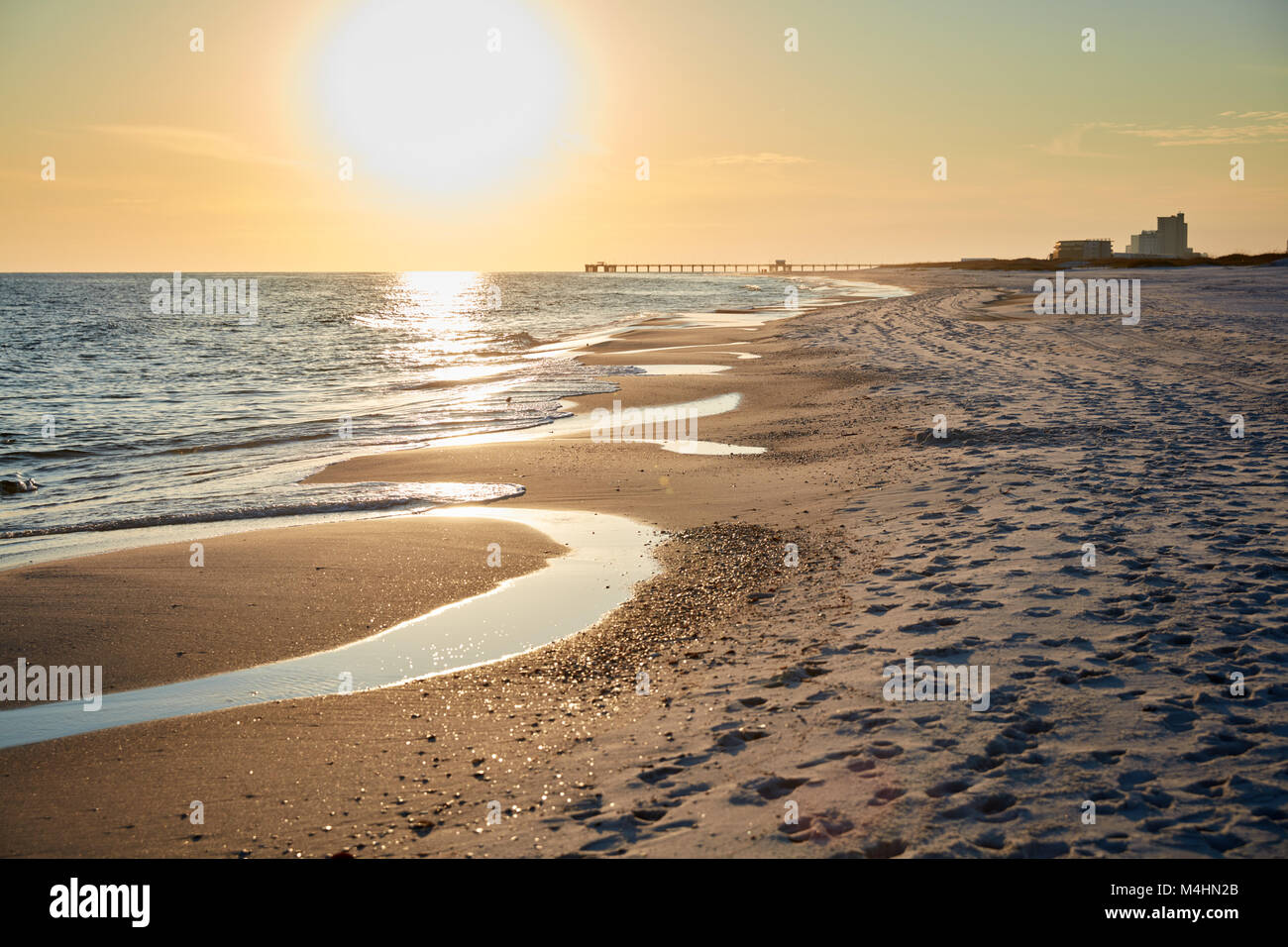 Sunset on the beach at Gulf State Park, Alabama Stock Photo