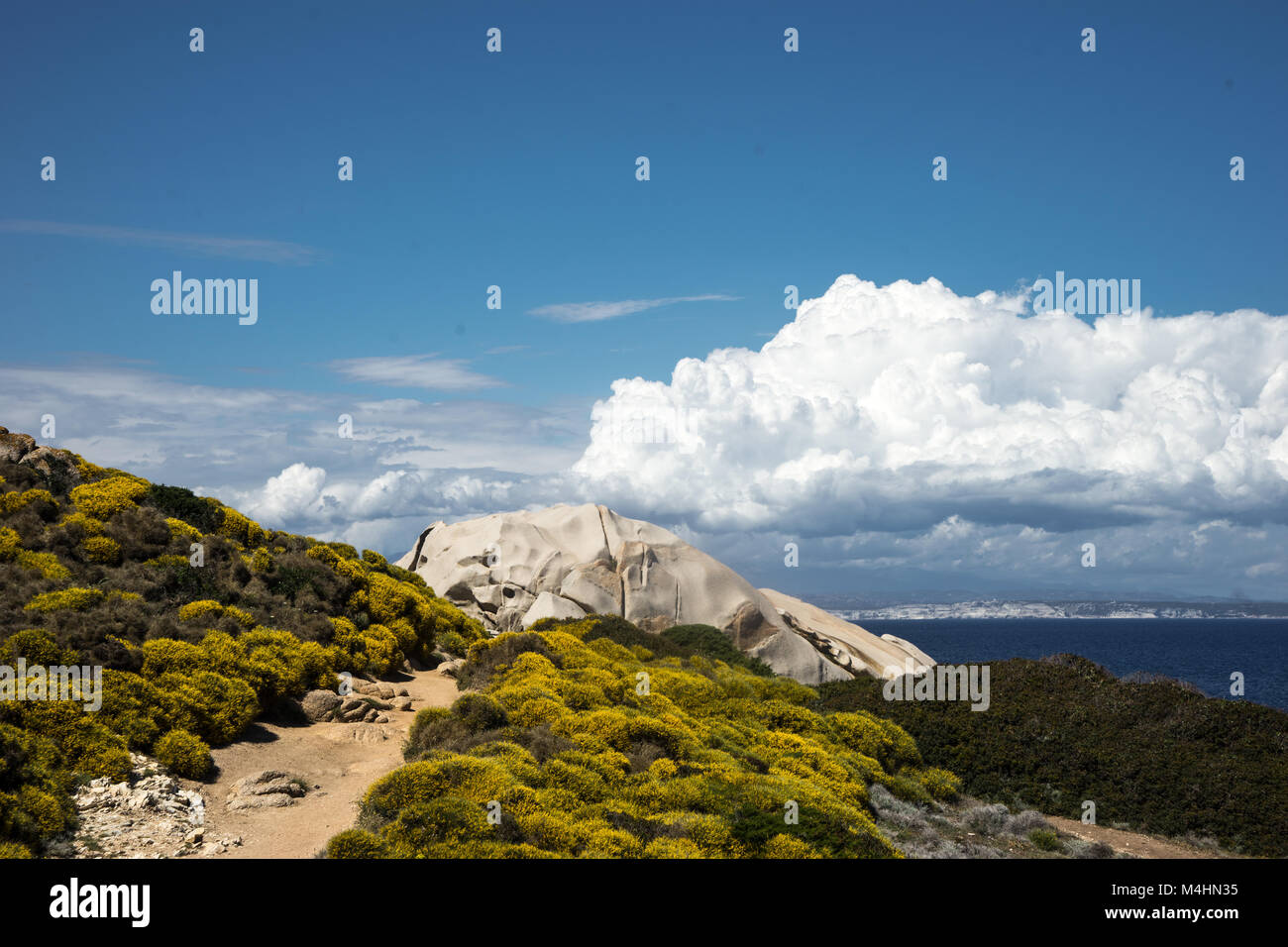 Capo Testa with view to Corse Stock Photo