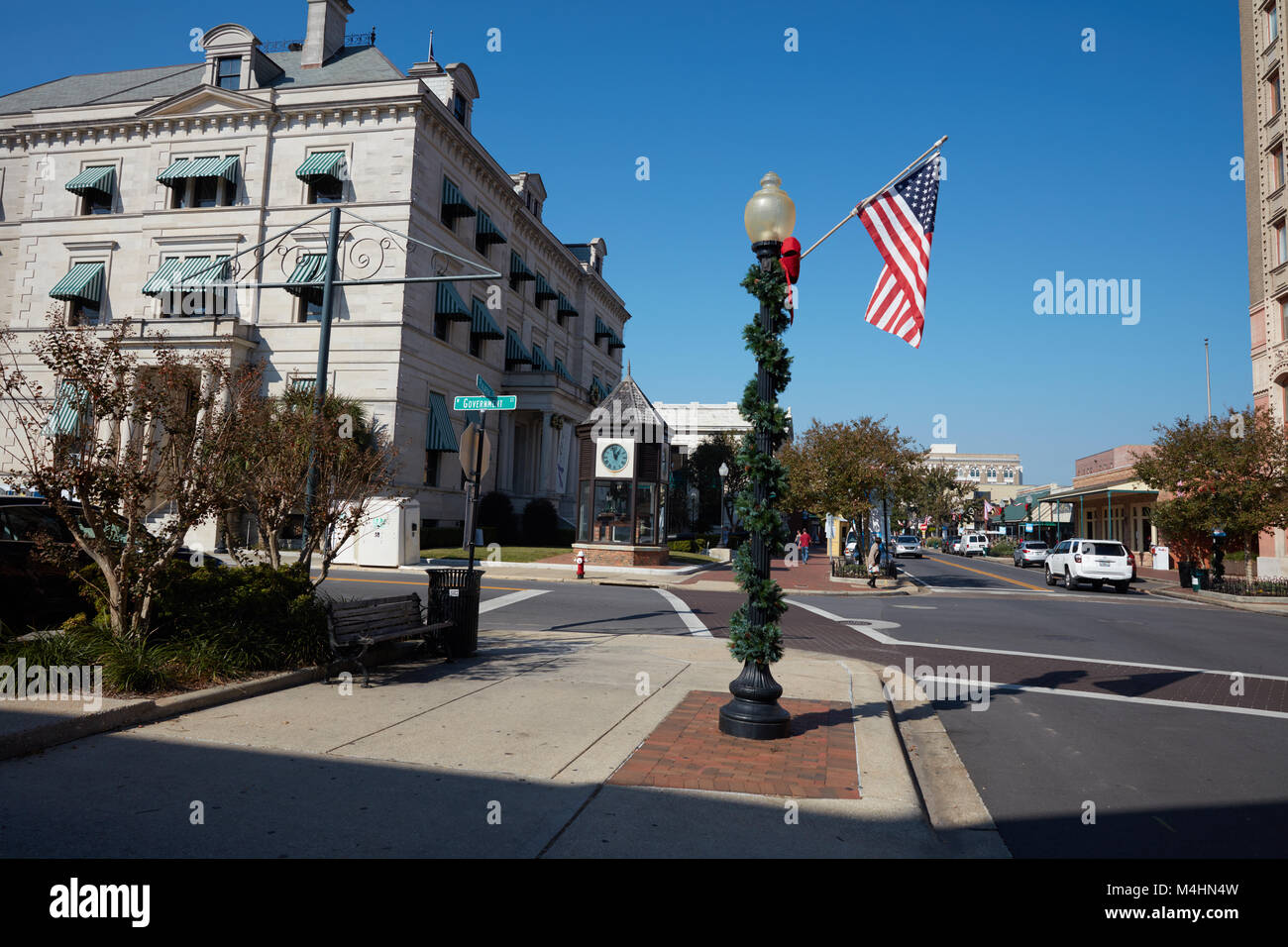 Downtown Pensacola with lamp post decorated for Christmas, Florida - Stock Image