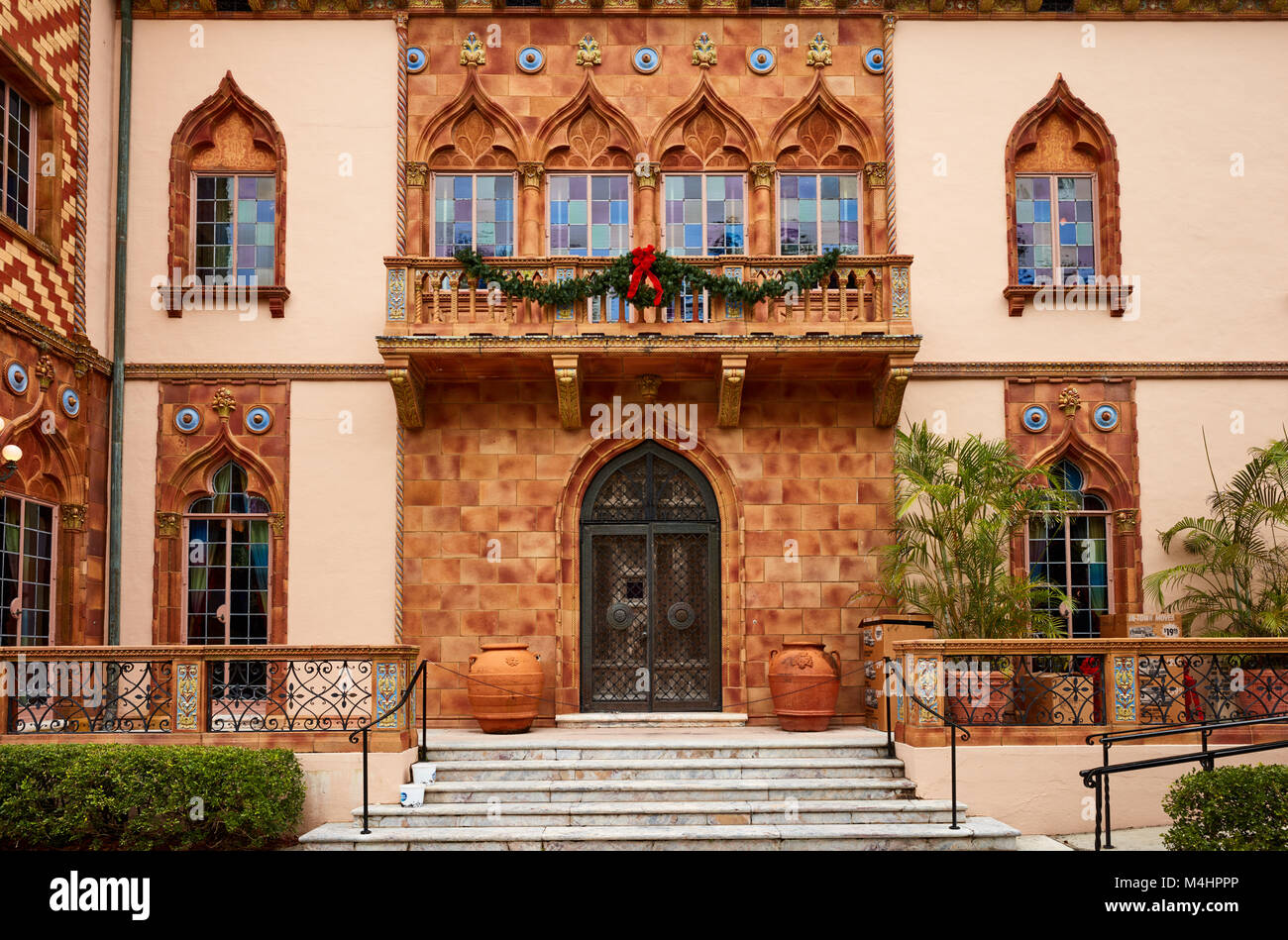 Front door of Ca D'Zan, the home of John and Mable Ringling Stock Photo