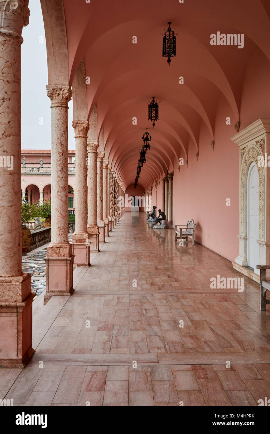 Veranda at the Ringling Museum of Art, Sarasota, Florida - Stock Image