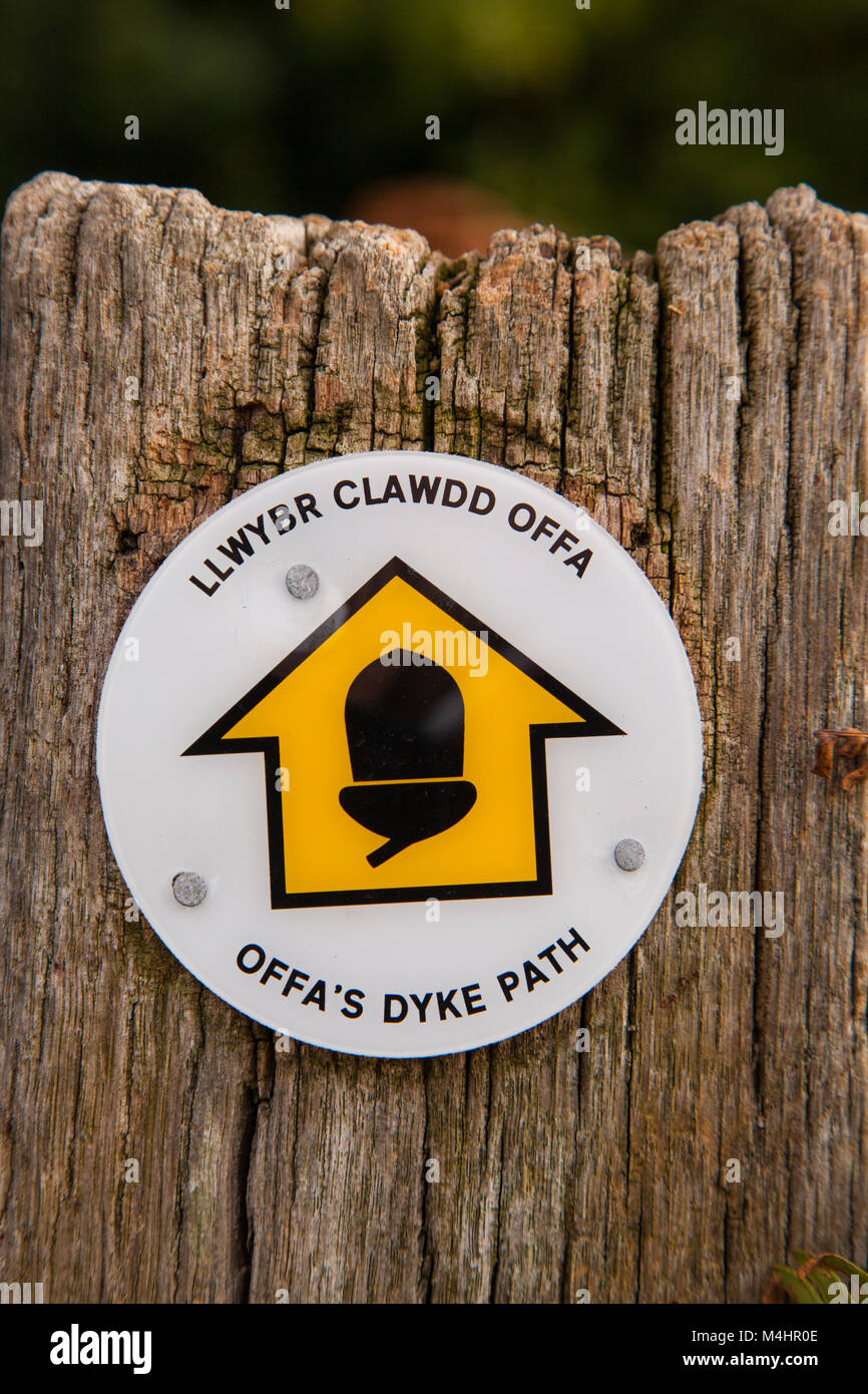 signpost / way marker on the Offas Dyke long distance footpath  showing which direction to take Stock Photo