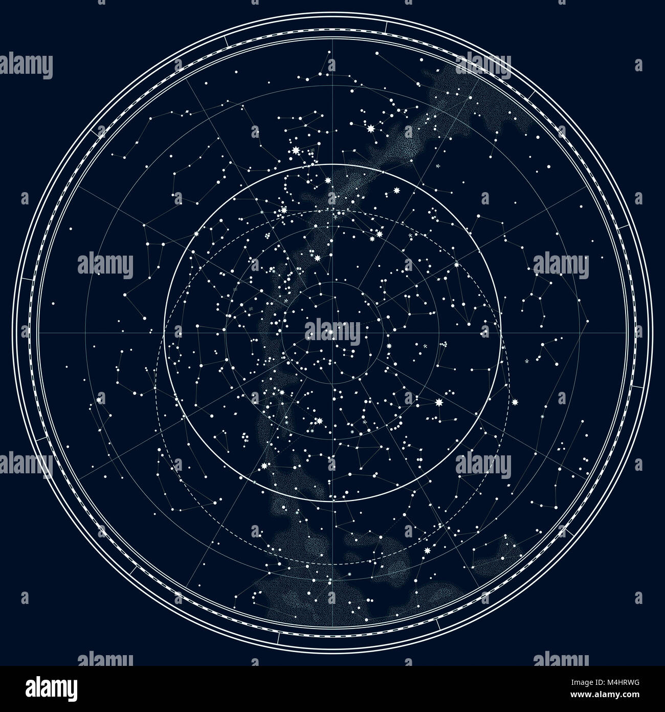 Astronomical Celestial Map of The Northern Hemisphere (Detailed Black Ink version) - Stock Image