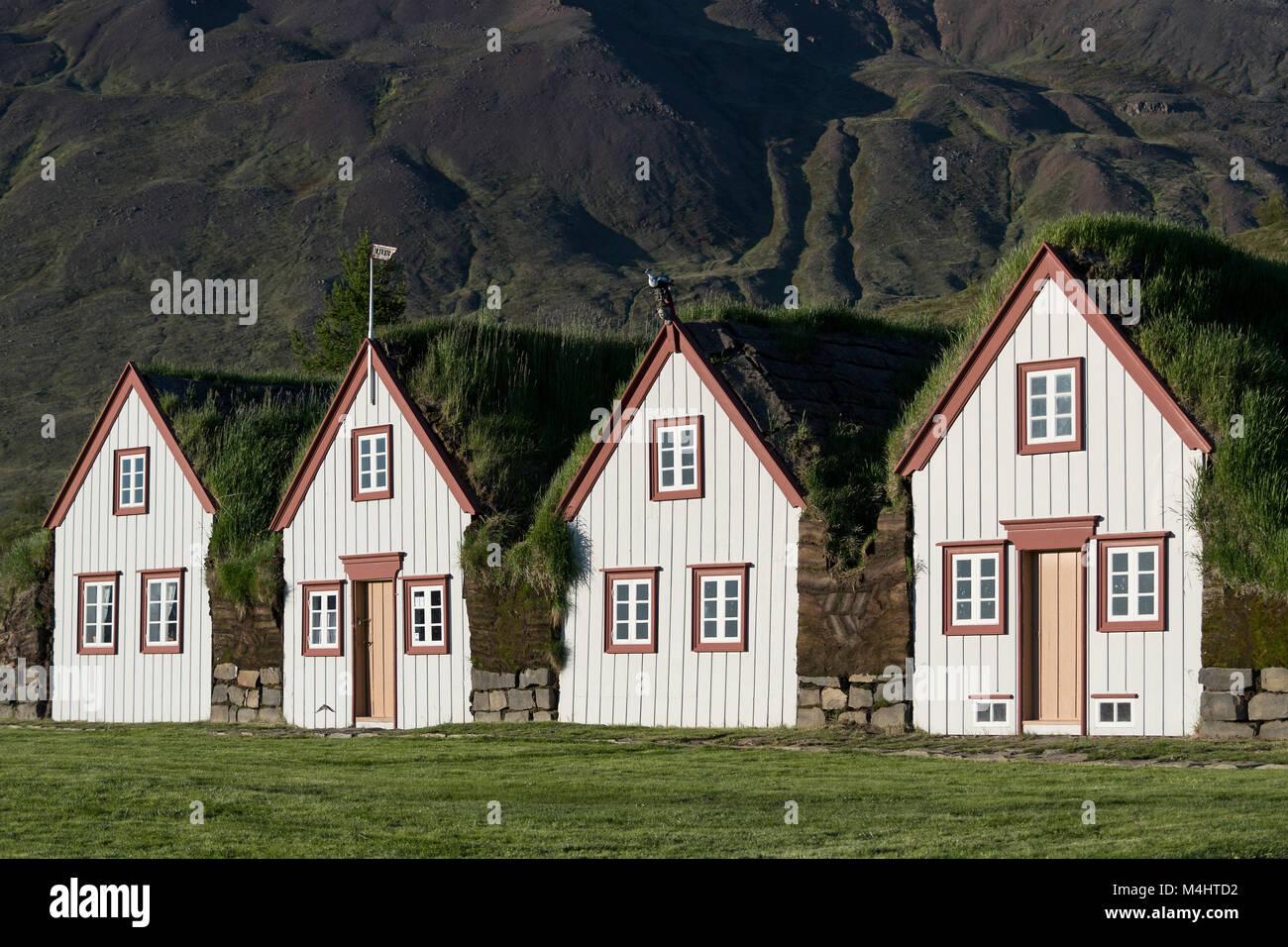 Old icelandic turf houses Laufás, open-air museum, Eyjafjörður, North-Iceland, Iceland - Stock Image