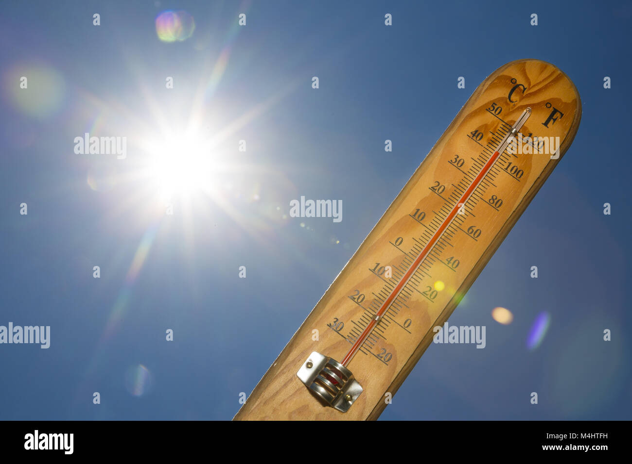Mercury thermometer Summer heat Sun light - Stock Image