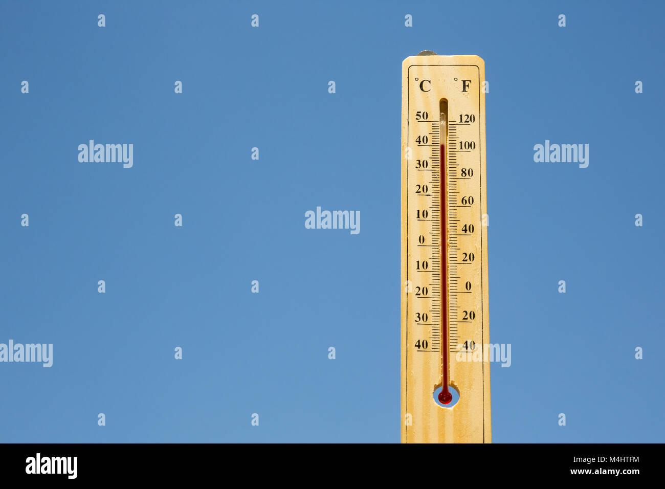 Mercury thermometer Summer heat - Stock Image