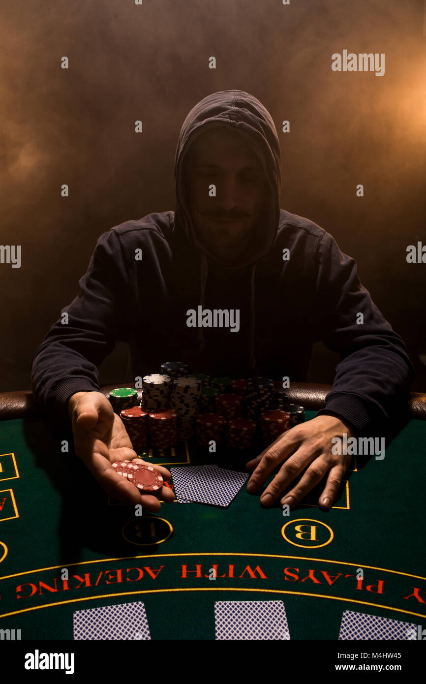 Portrait Of A Professional Poker Player Sitting At Poker Table A Man Stock Photo Alamy