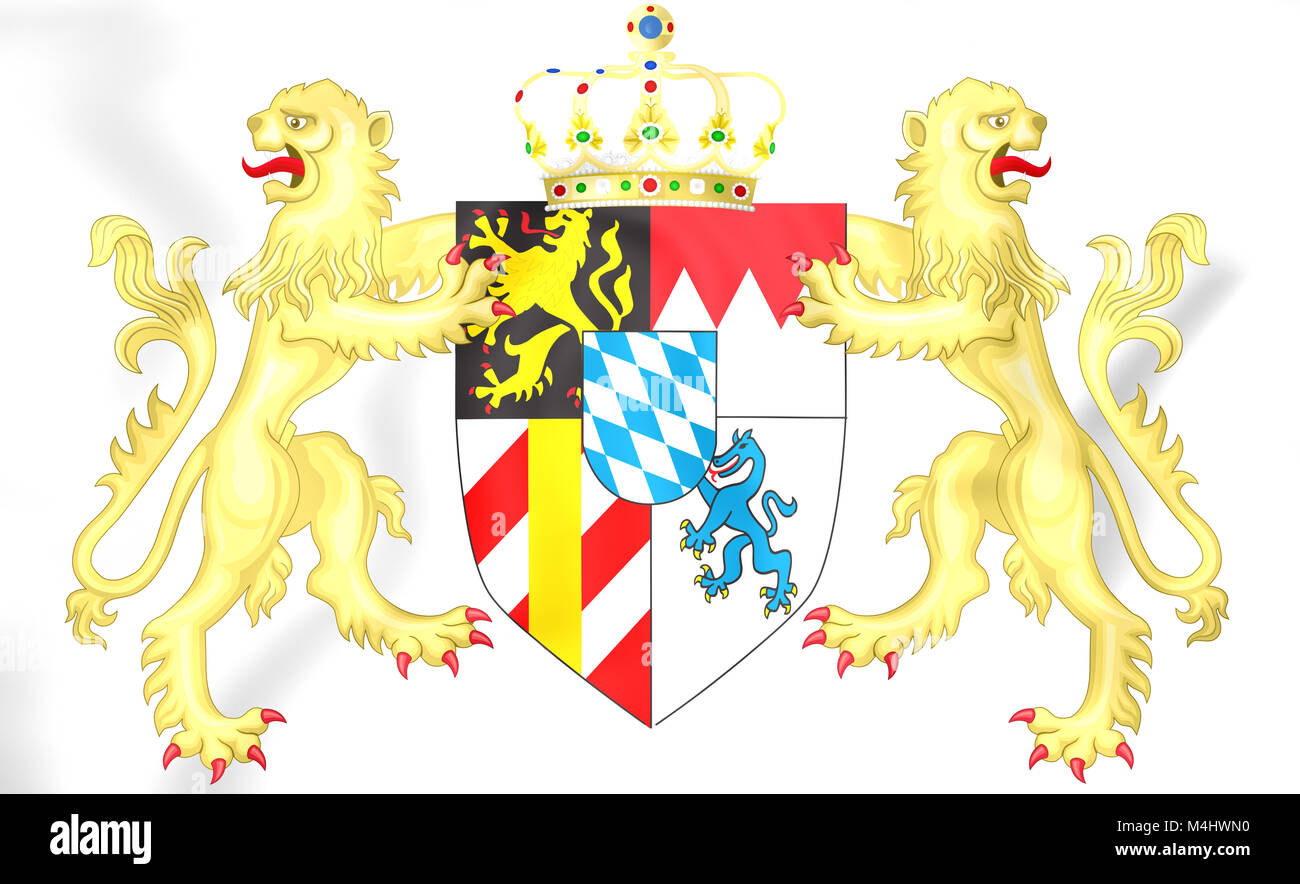 Kingdom of Bavaria coat of arms. 3D Illustration. - Stock Image