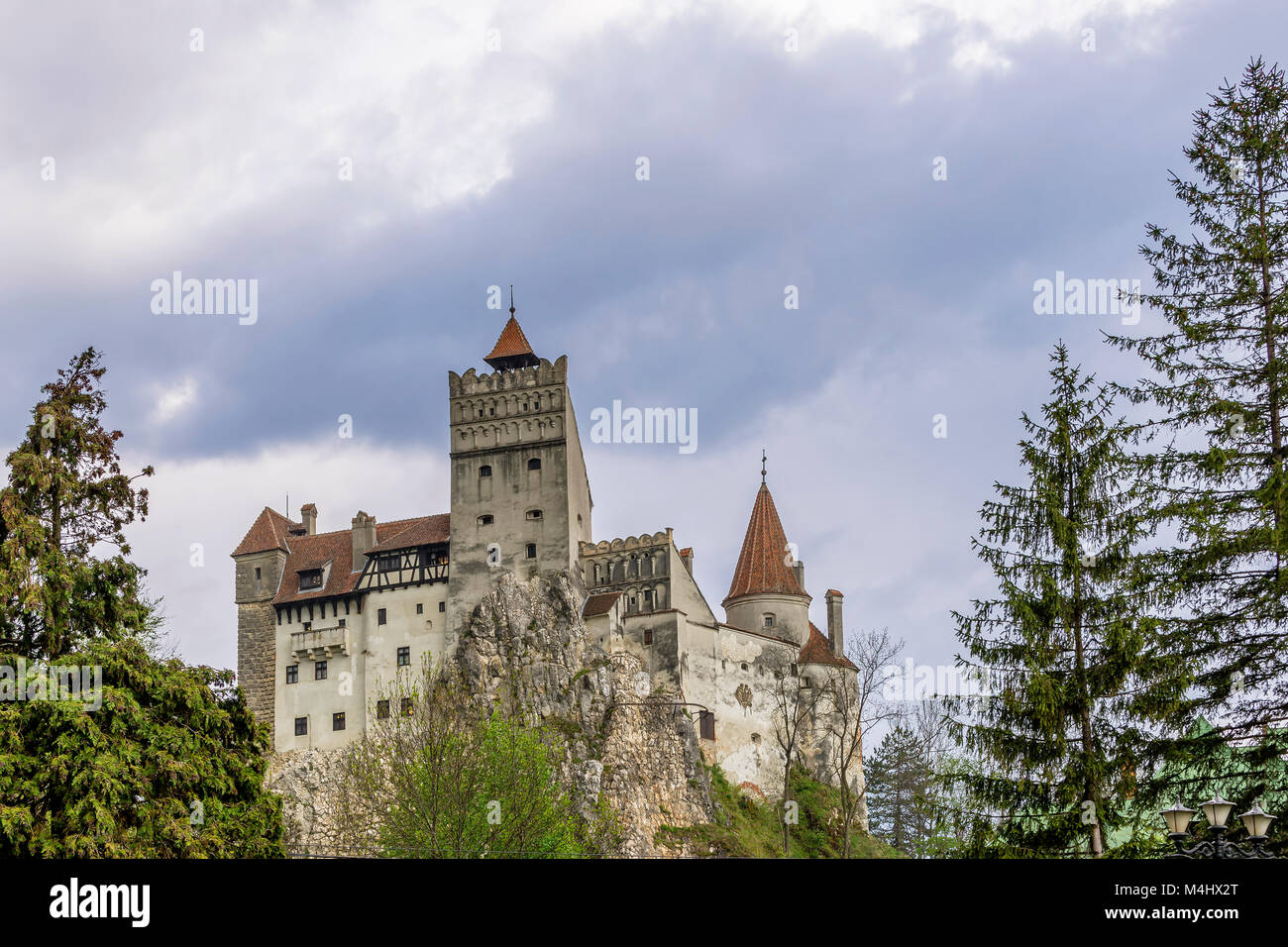 A view of the scary Bran Castle, Brasov County, Romania - Stock Image