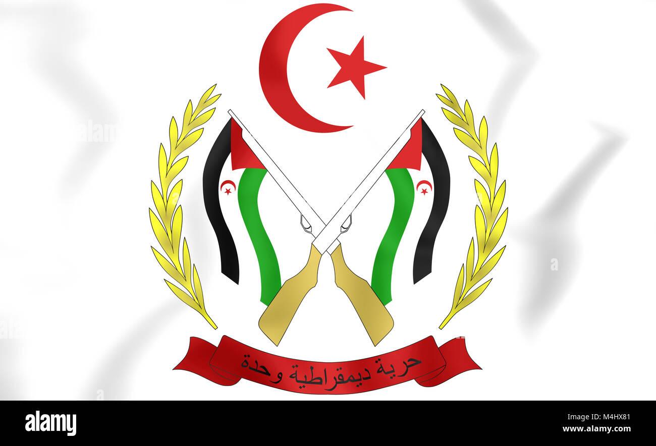 Sahrawi Arab Democratic Republic Coat of Arms. 3D Illustration. - Stock Image