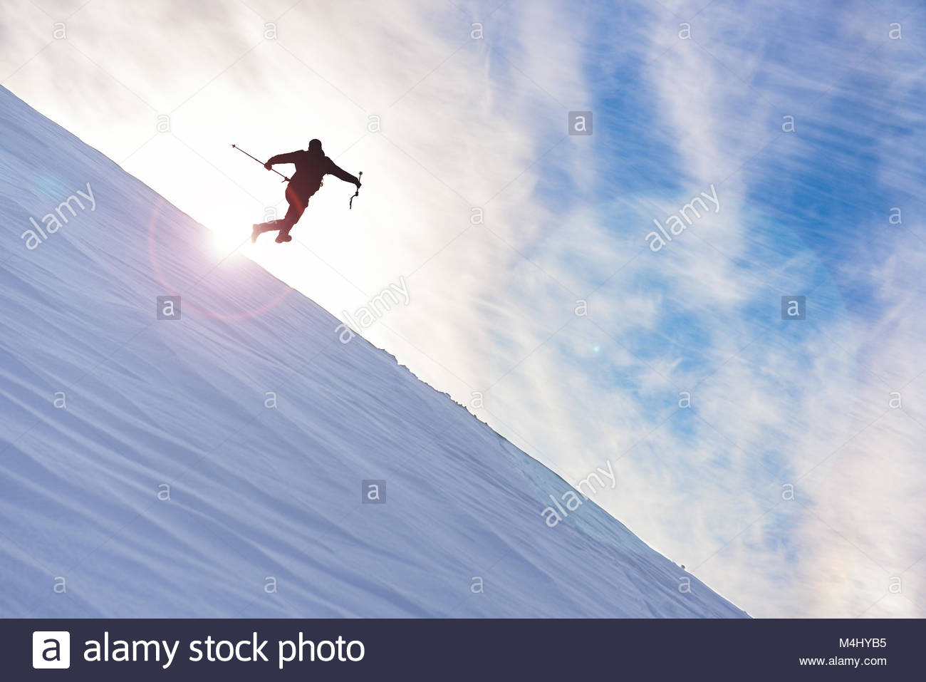 Challenging and dangerous mountaineering positions - Stock Image