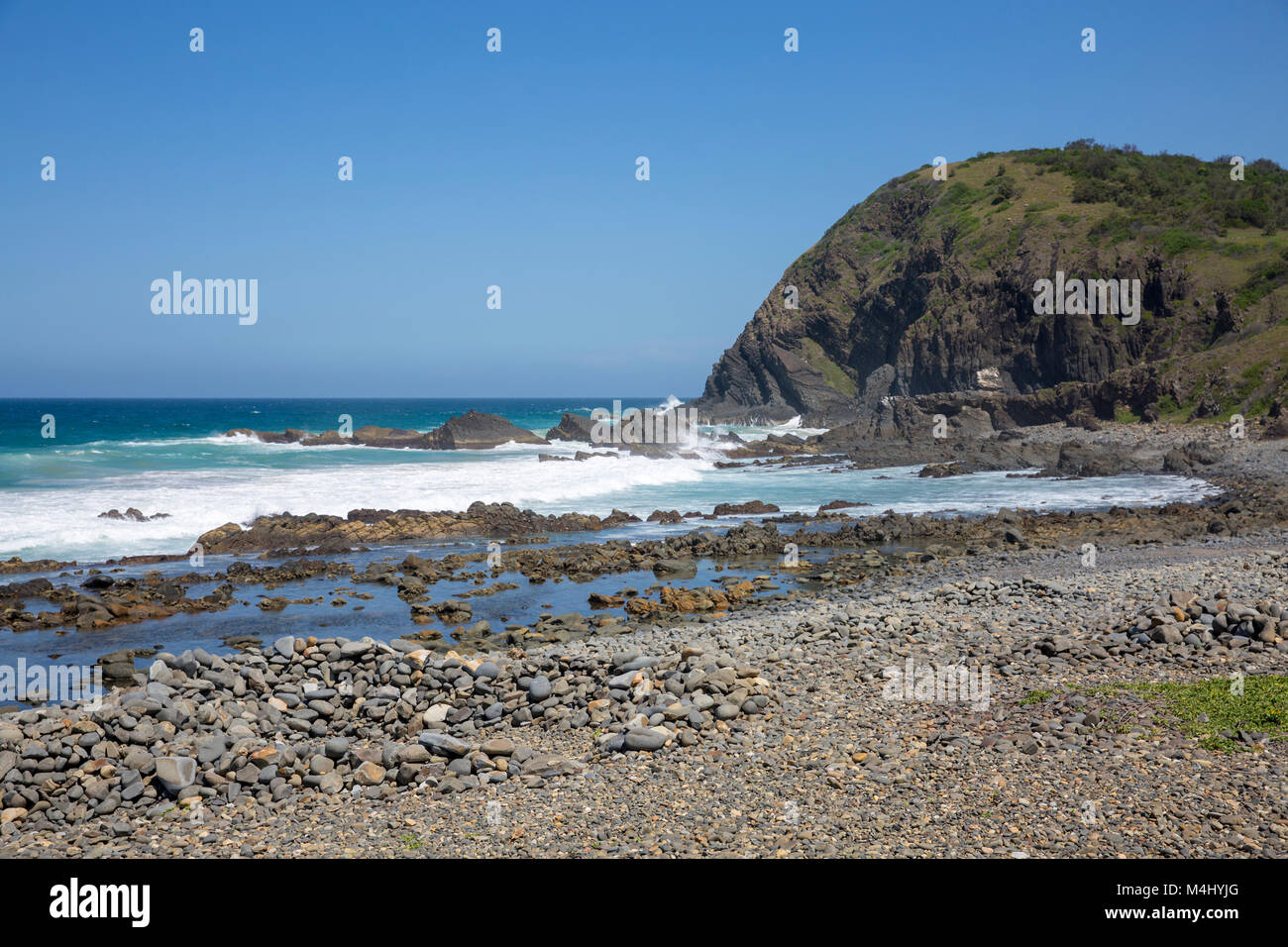 Pebbly beach at Crescent Head location on the mid north coast of New South Wales, Australia - Stock Image
