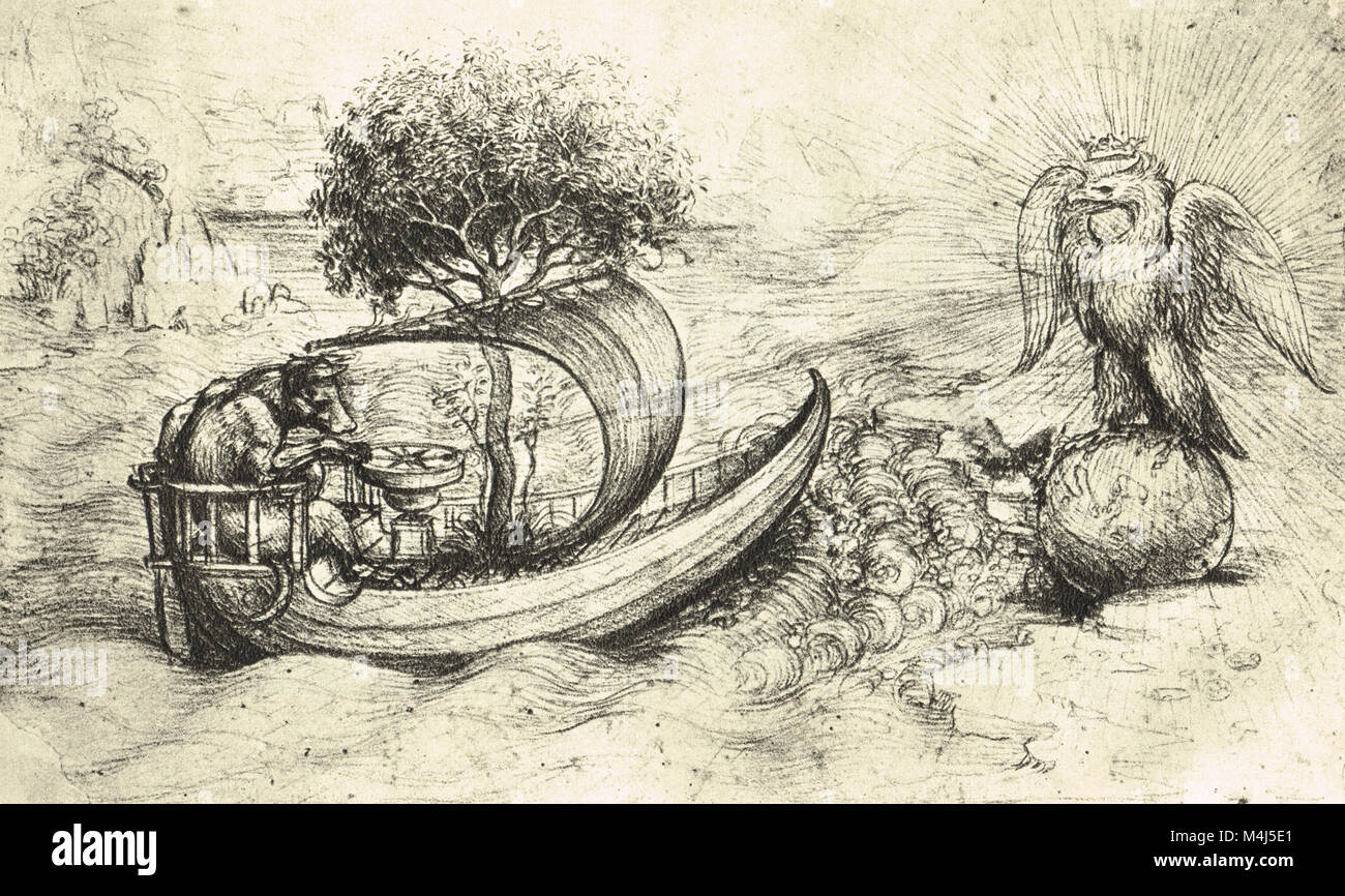 Unsolved allegory, a crowned Eagle standing on a globe and a Wolf steering a boat, drawn by Leonardo Da Vinci, circa - Stock Image