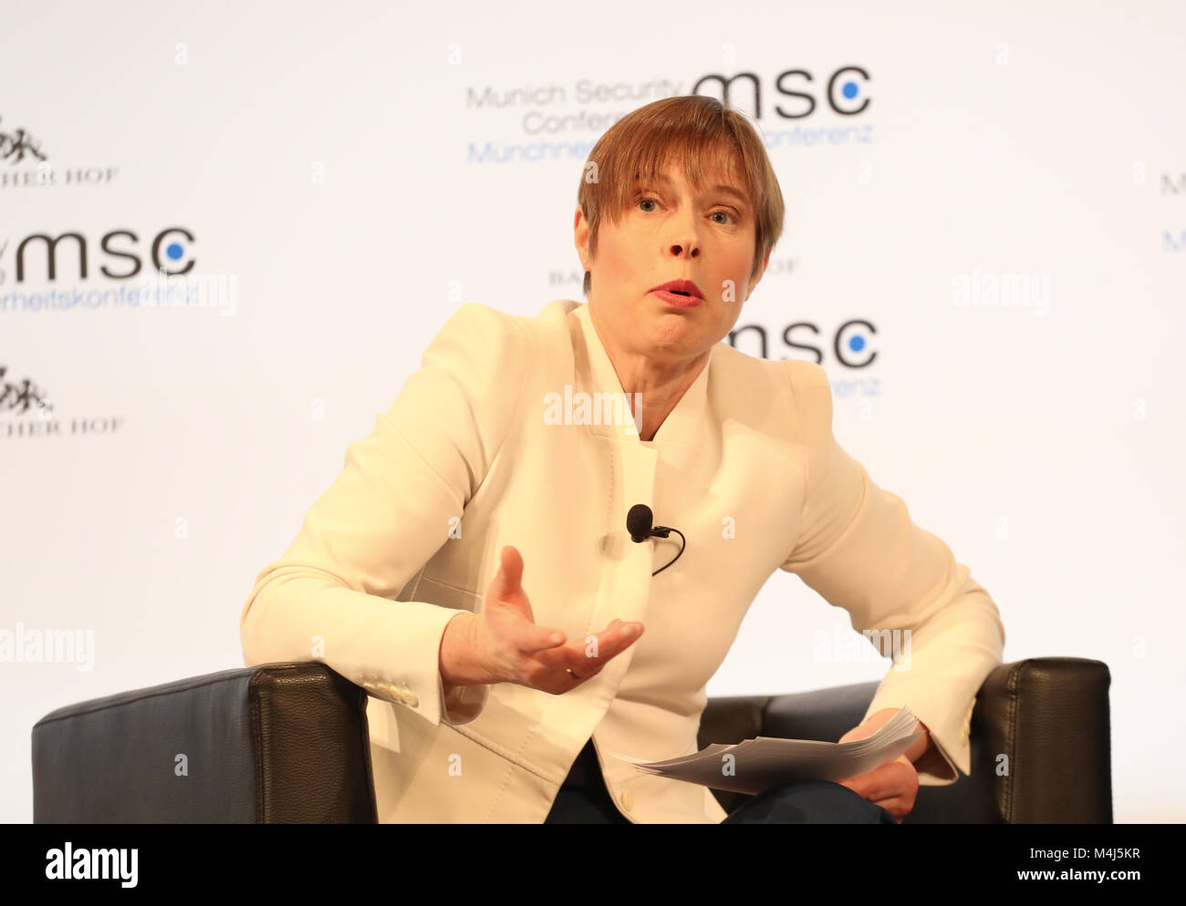 Munich, Germany. 15th Feb, 2018. Kersti Kaljulaid talking about AI. Today the first panel of the Munich Security Stock Photo