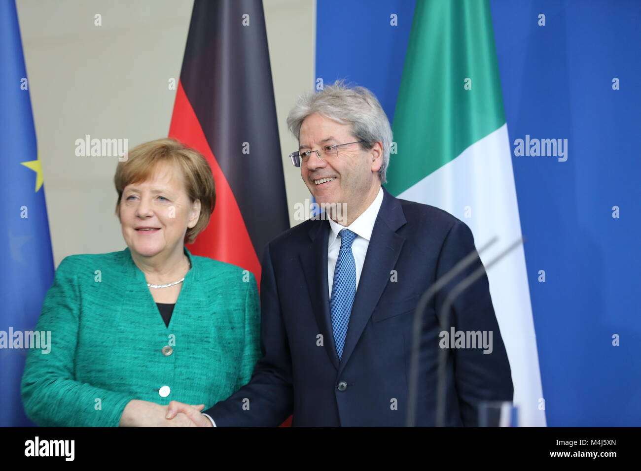 Berlin, Germany. 16th Feb, 2018. Berlin: Chancellor Angela Merkel and Italian Prime Minister Paolo Gentiloni at Stock Photo