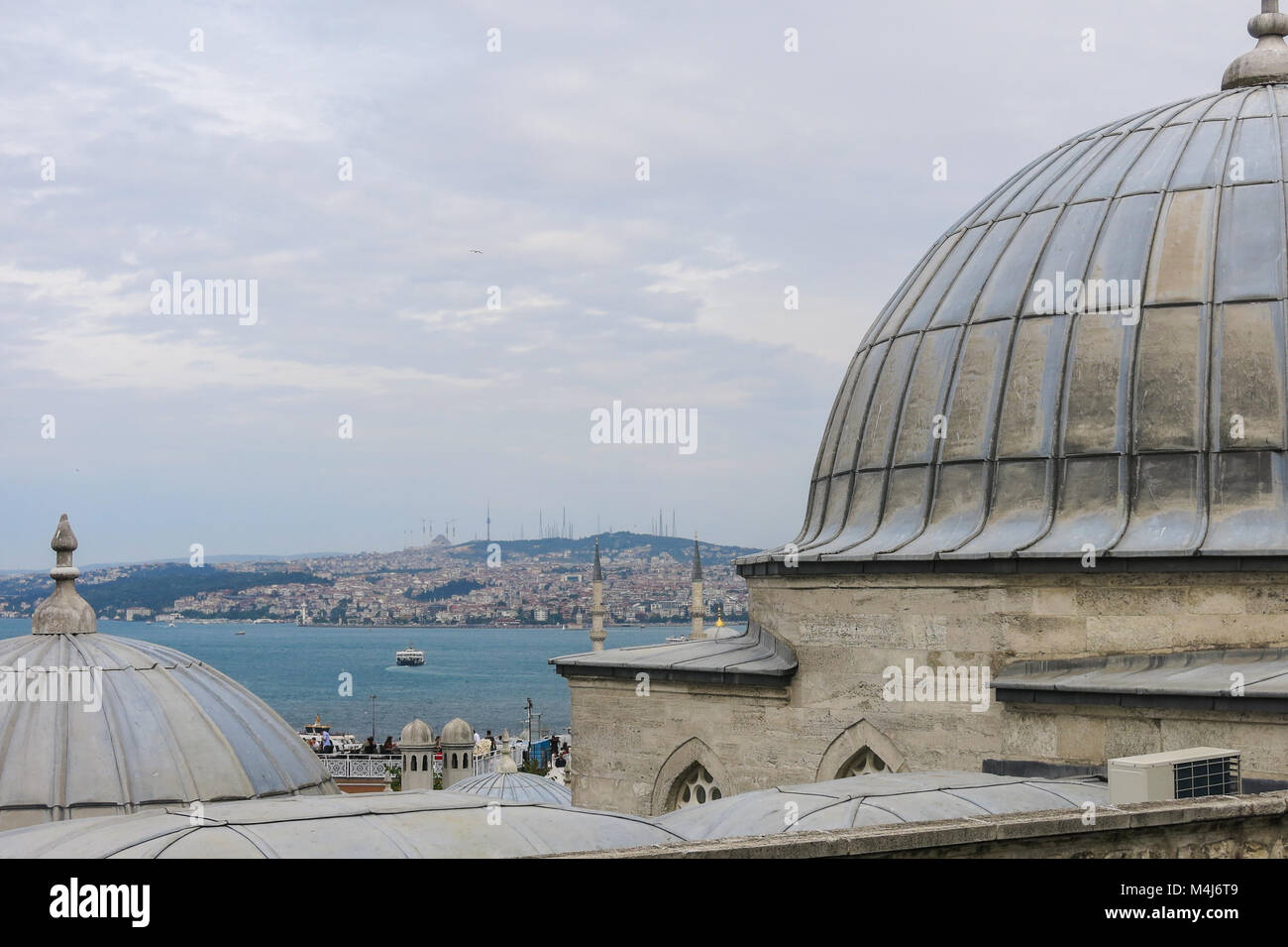 Panorama of Istambul, the largest city of Turquey, from Suleiman mosque. Istambul, Turkey. - Stock Image