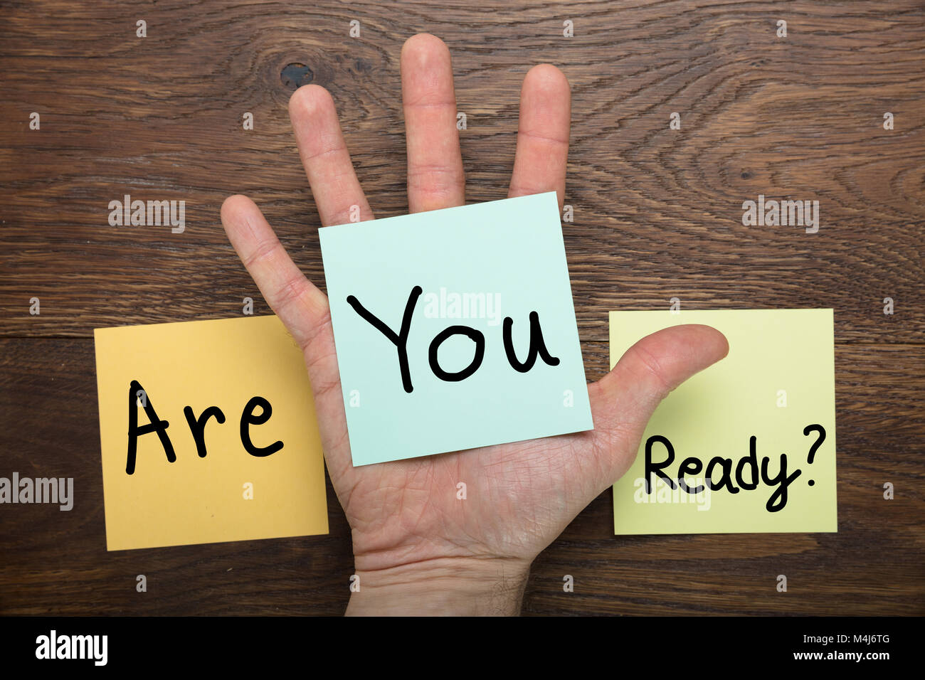Are You Ready Concept Written On Stick Note At Wooden Desk - Stock Image