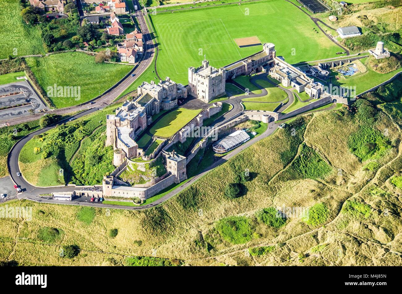 Aerial image of Northumberland - Bamburgh Castle - Stock Image