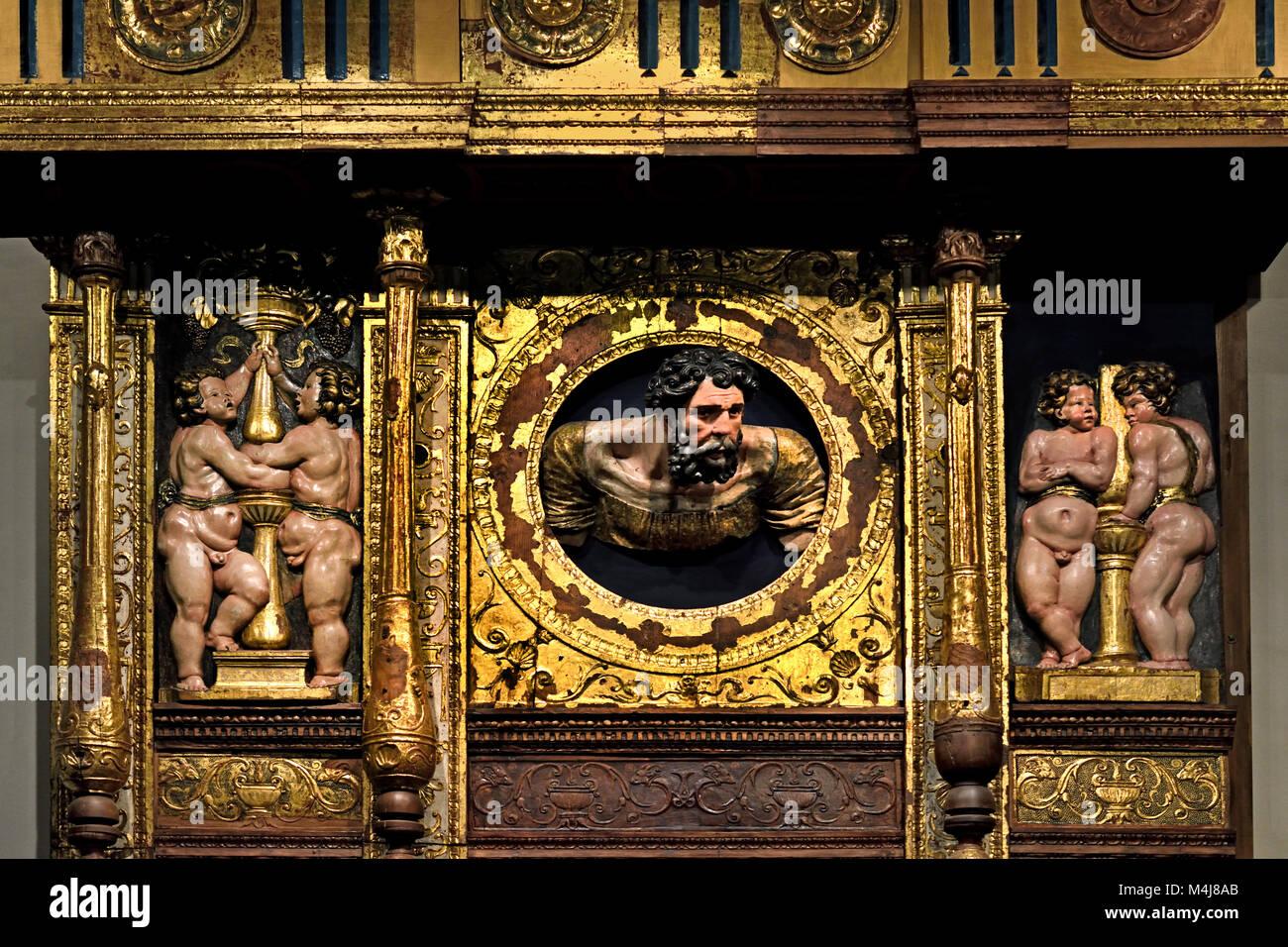 Retable ( Altarpiece) 1526-1532 Alonso Berruguete 1489-1561 master 16th century,  Spain, Spanish, ( Monastery of Stock Photo