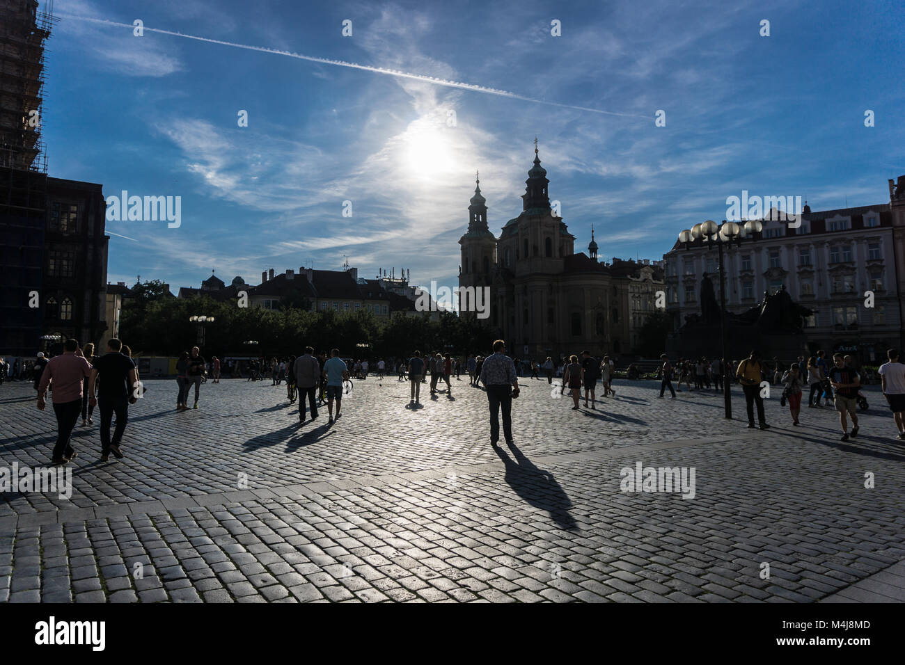 Tourists walking in the streets of Prague - Stock Image