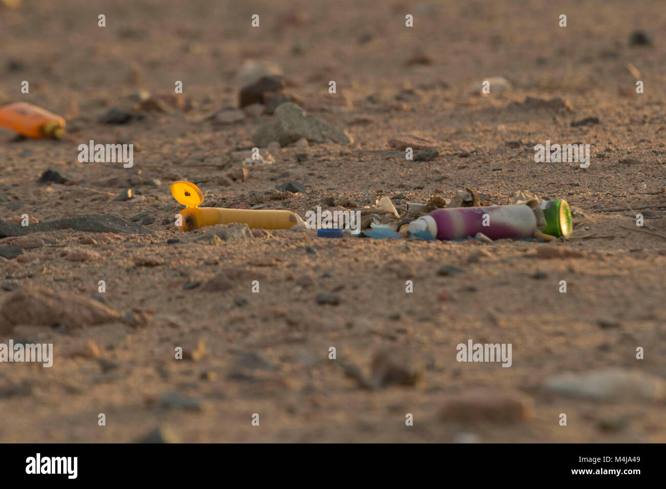 Plastic pollution on the beach - Stock Image