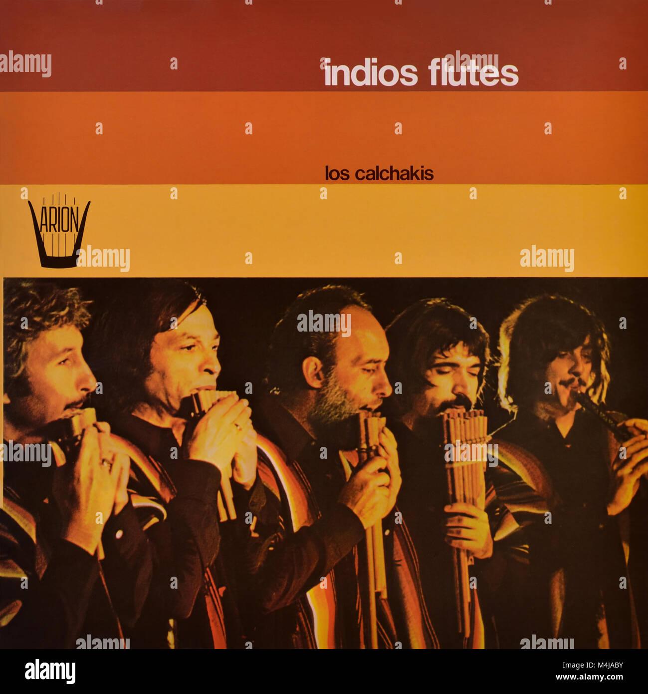 Los Calchakis original vinyl album cover - Indios Flutes - 1975 - Stock Image
